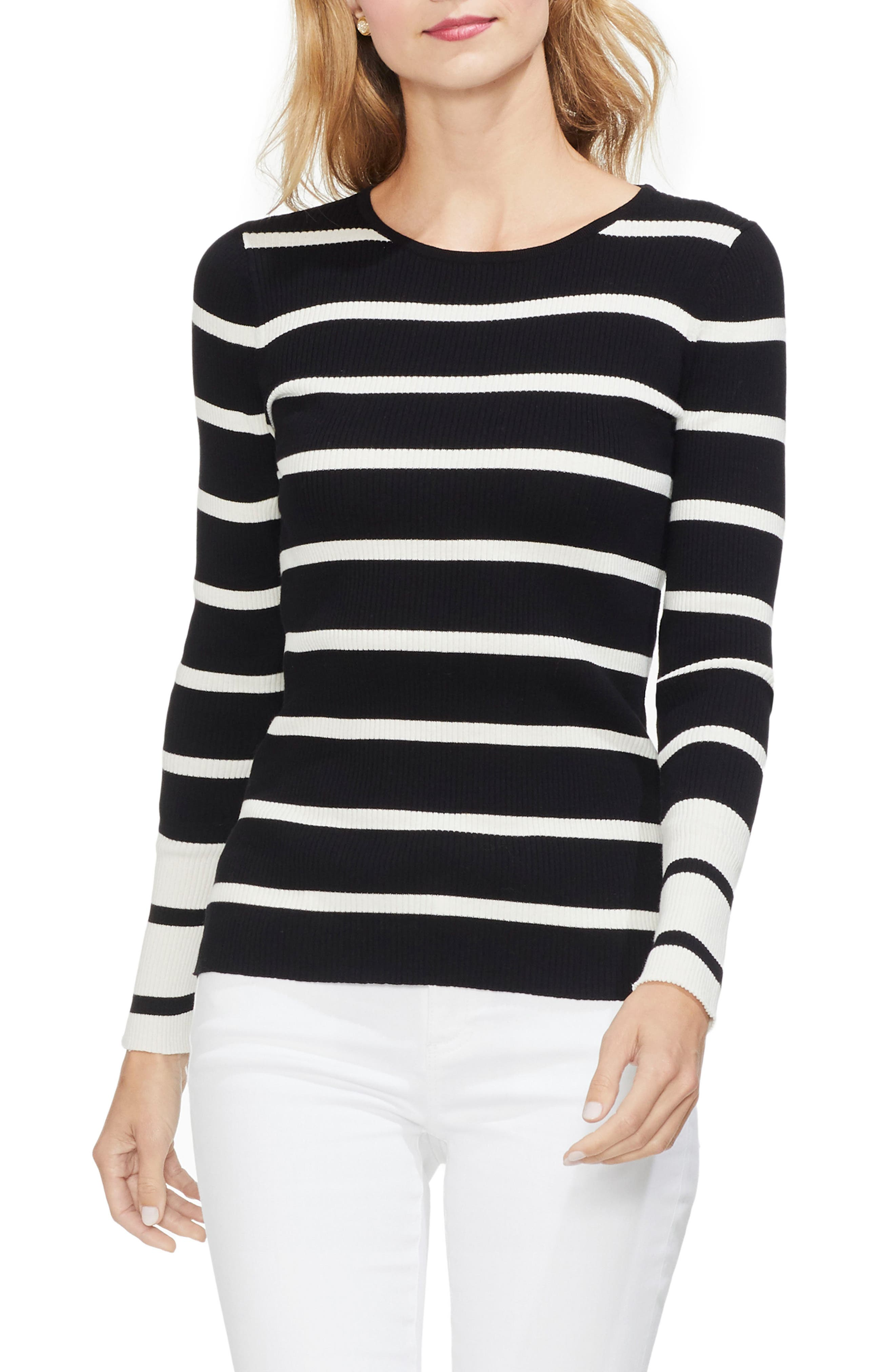 Ribbed Stripe Sweater,                             Main thumbnail 1, color,                             RICH BLACK