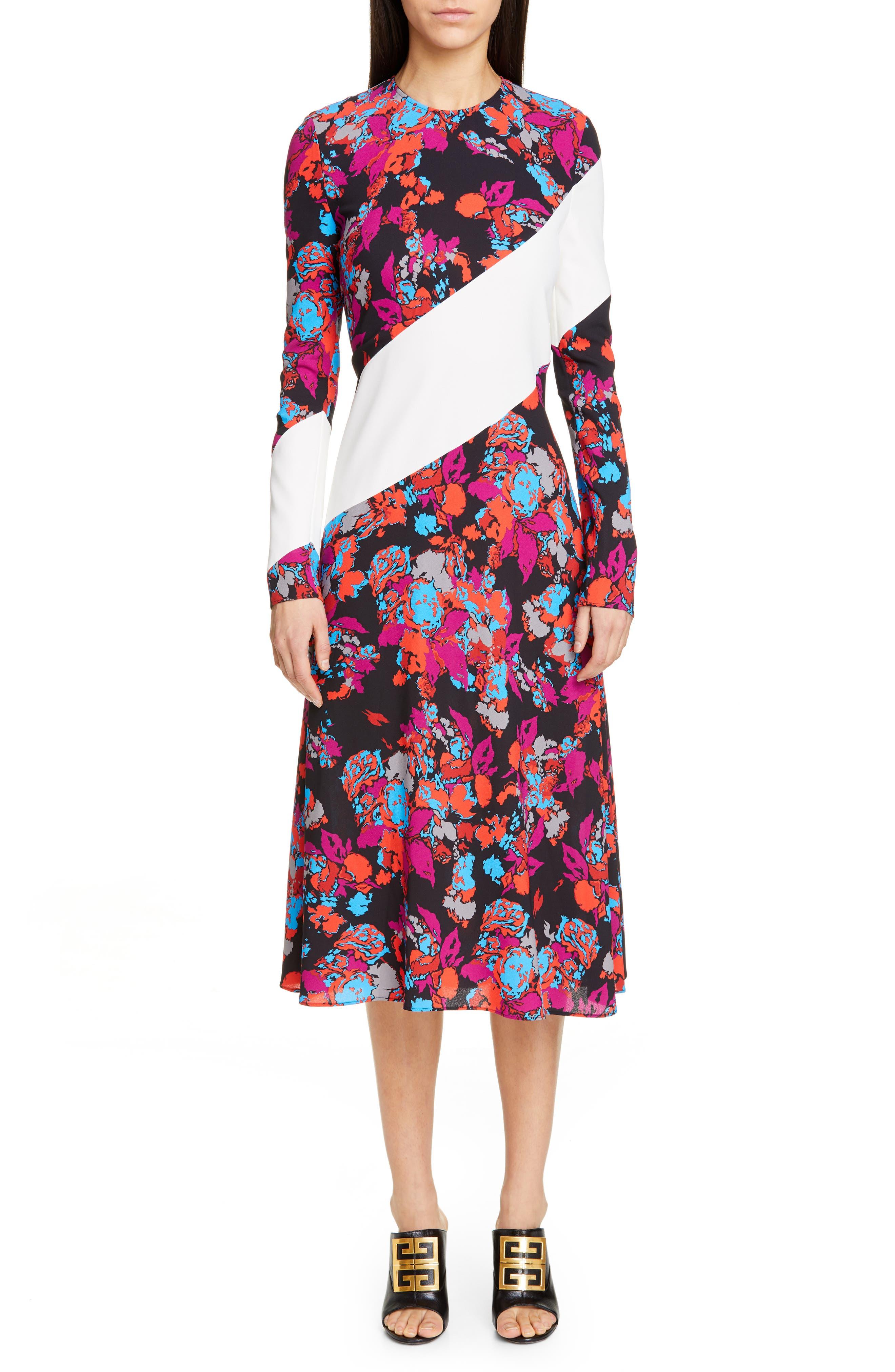 Givenchy Floral Stripe Print Crepe Midi Dress, US / 44 FR - Purple