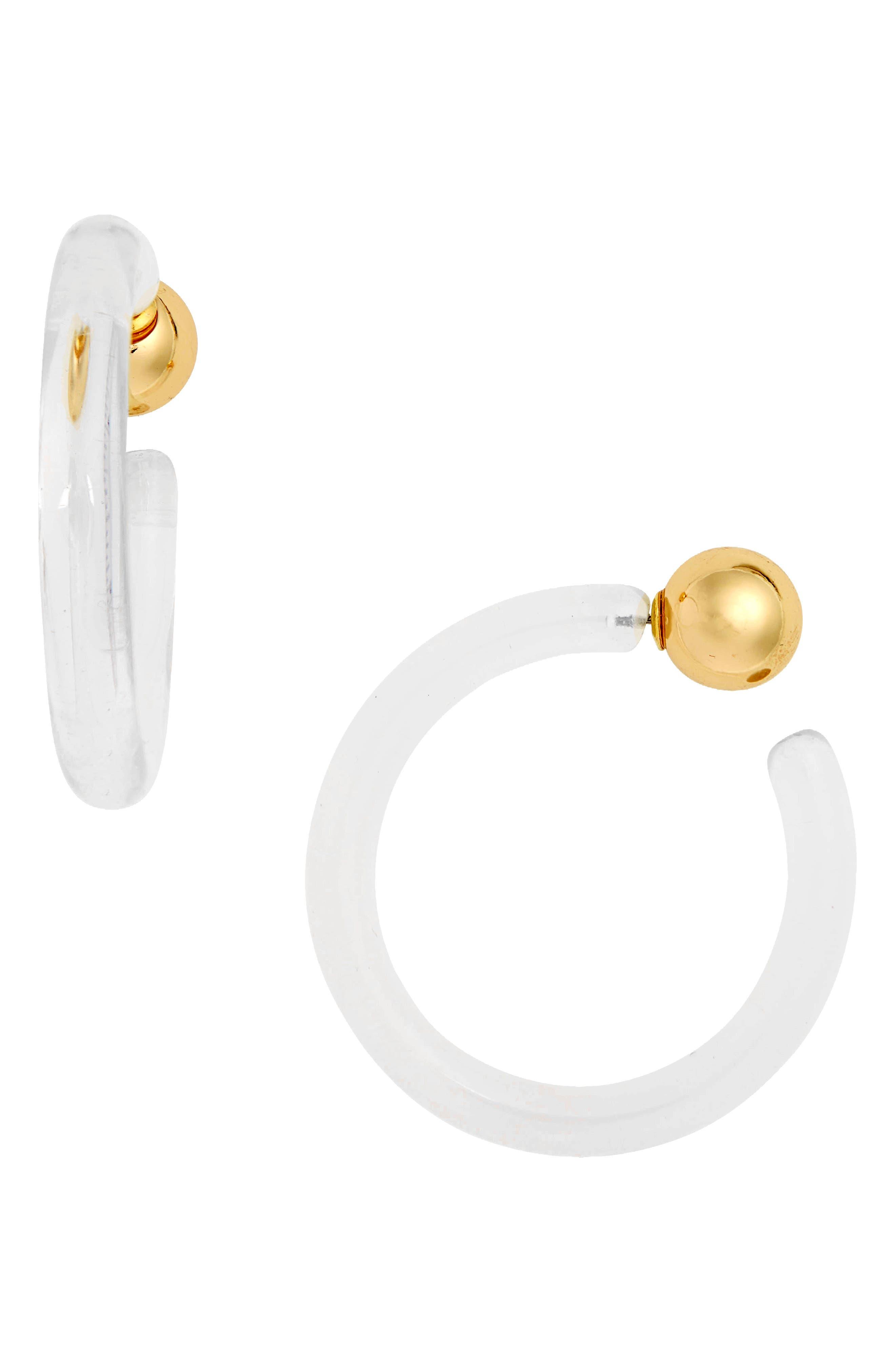 Clear Hoop Ear Jackets,                             Main thumbnail 1, color,                             GOLD/ CLEAR