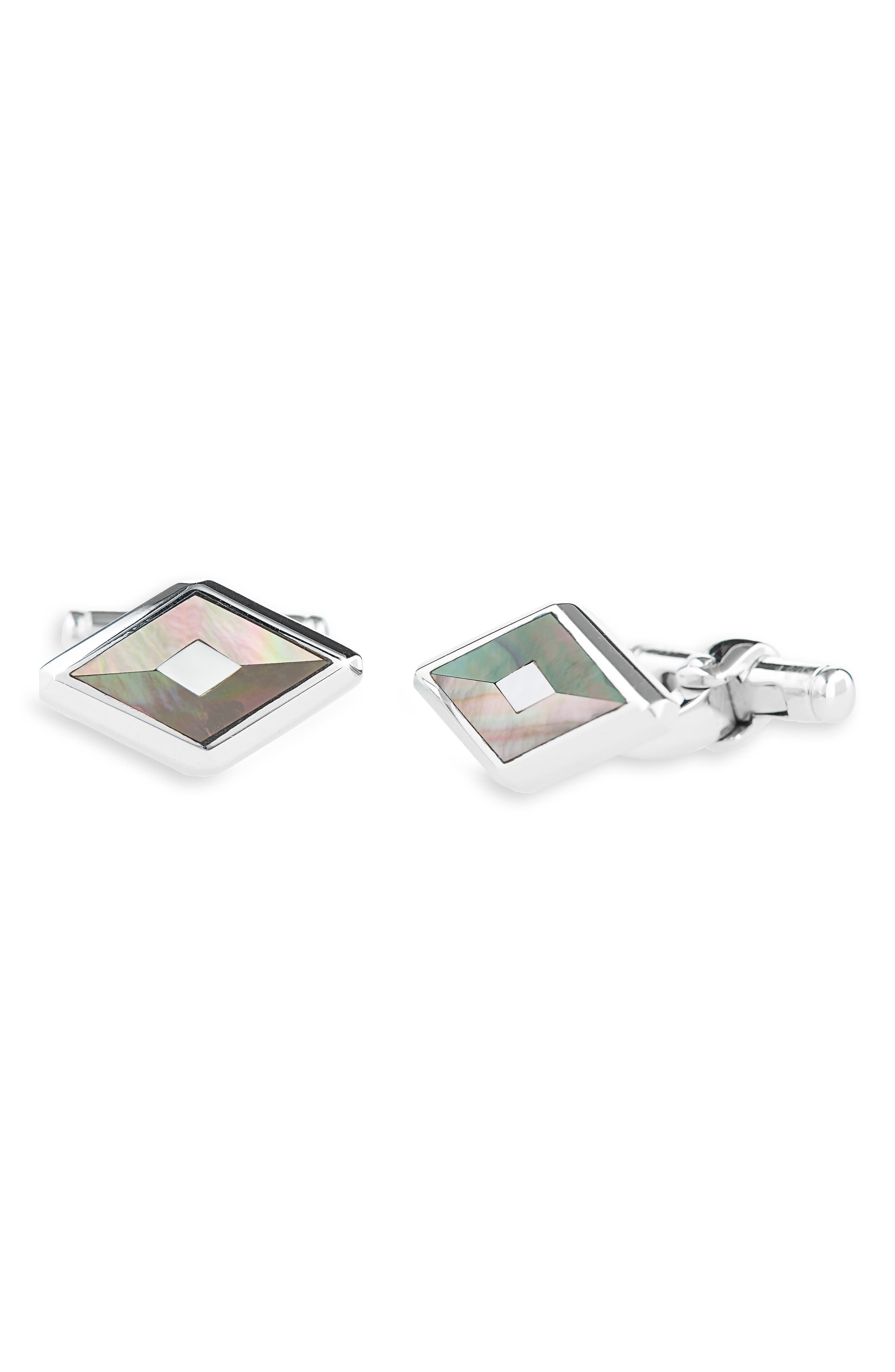 DUNHILL Diamond Stud Cuff Links in Silver