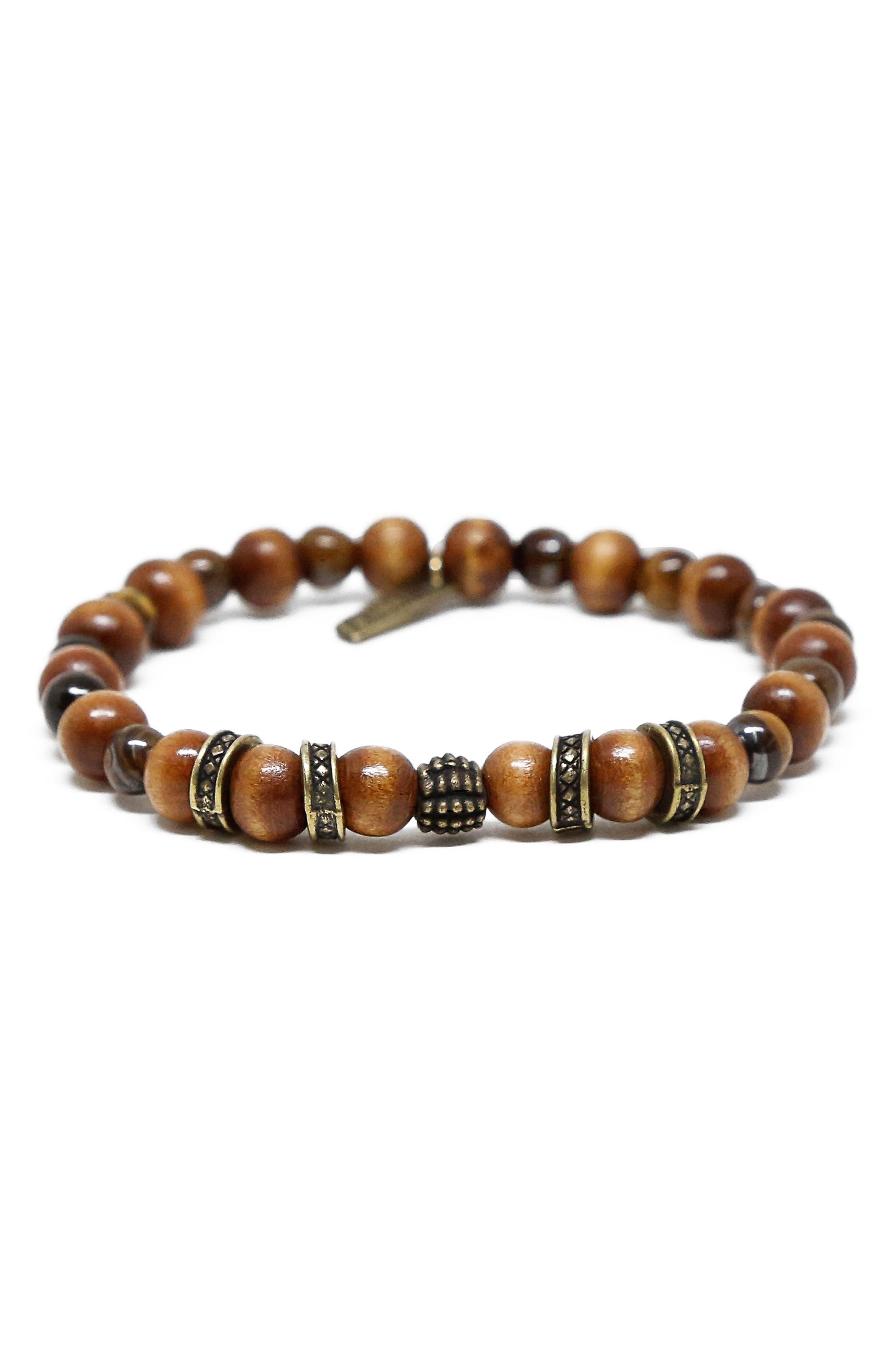 MR. ETTIKA,                             Wood & Brass Bead Bracelet,                             Main thumbnail 1, color,                             200