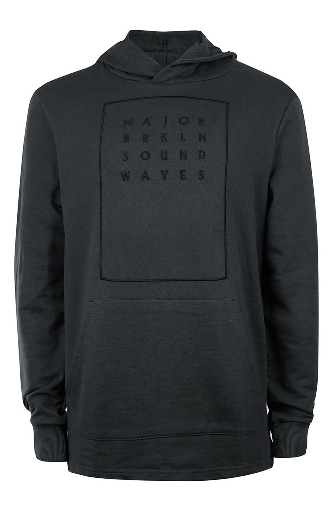 Classic Fit Sound Waves Hoodie,                             Alternate thumbnail 3, color,                             001