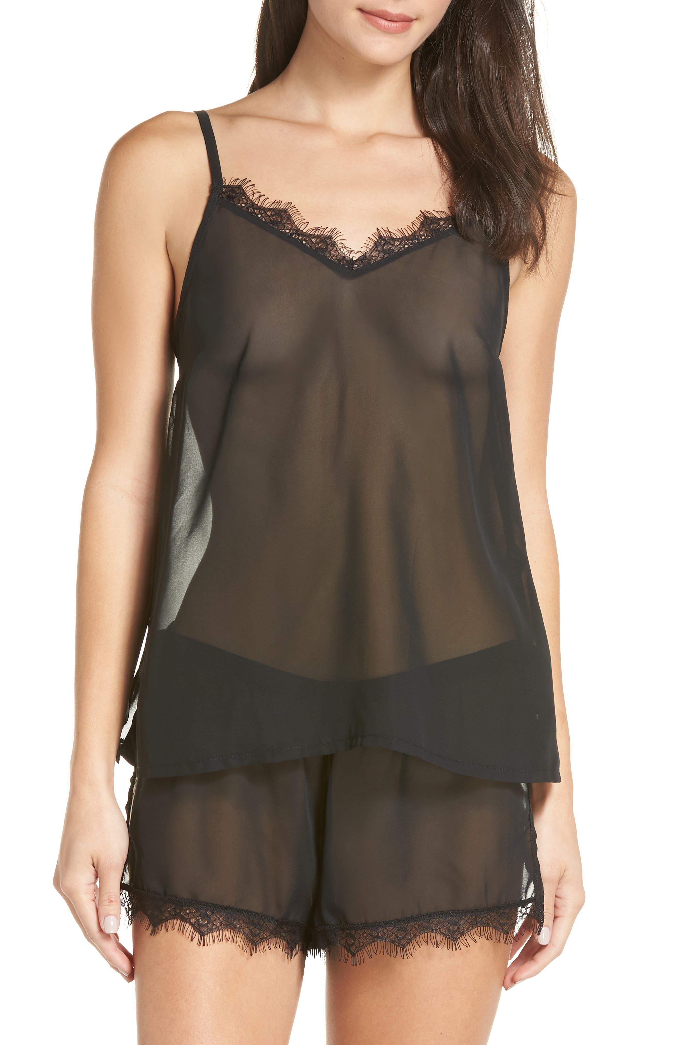 Copper Sheer Short Pajamas,                             Main thumbnail 1, color,                             BLACK