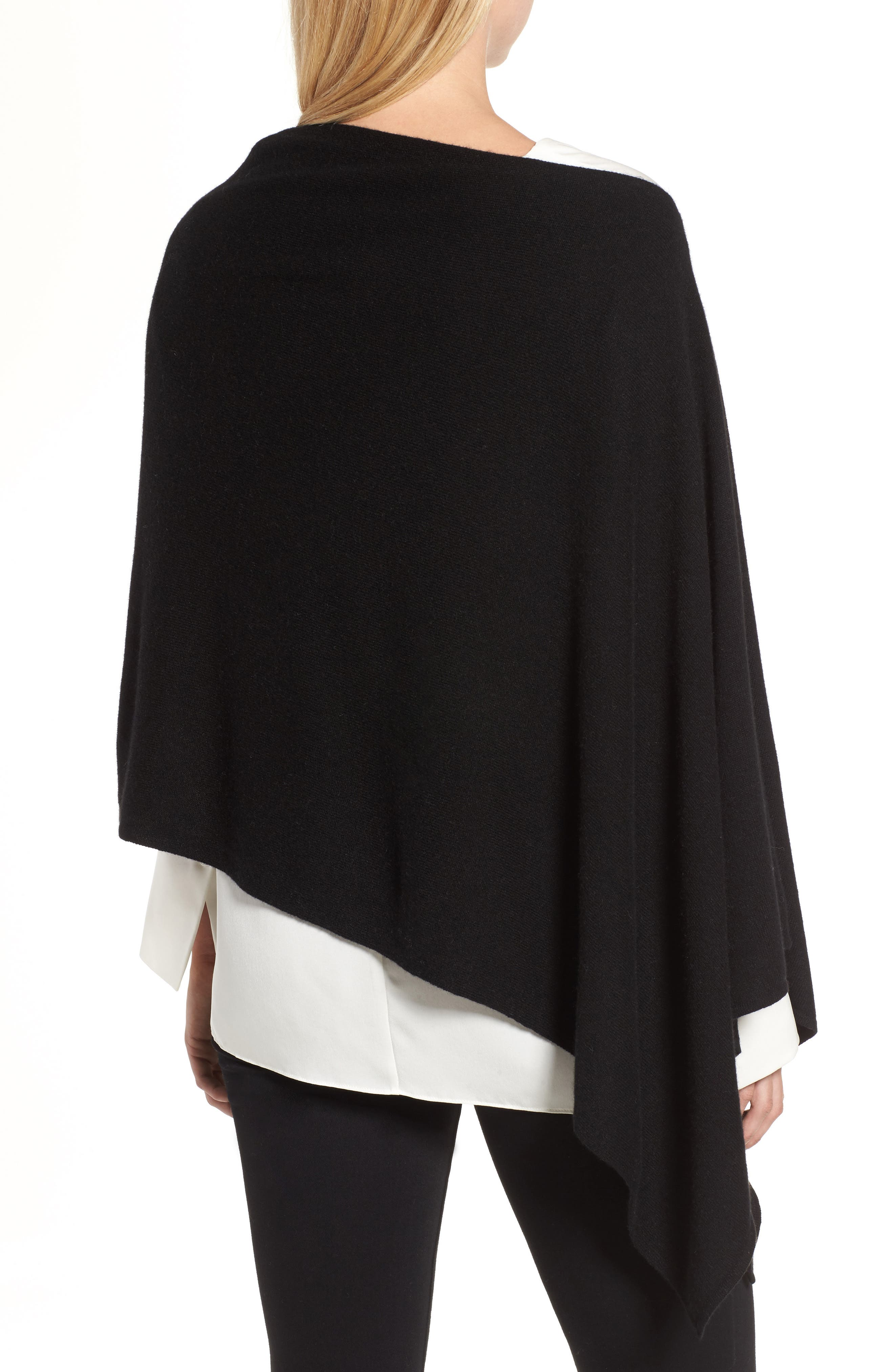 Convertible Cashmere Poncho,                             Alternate thumbnail 2, color,                             BLACK