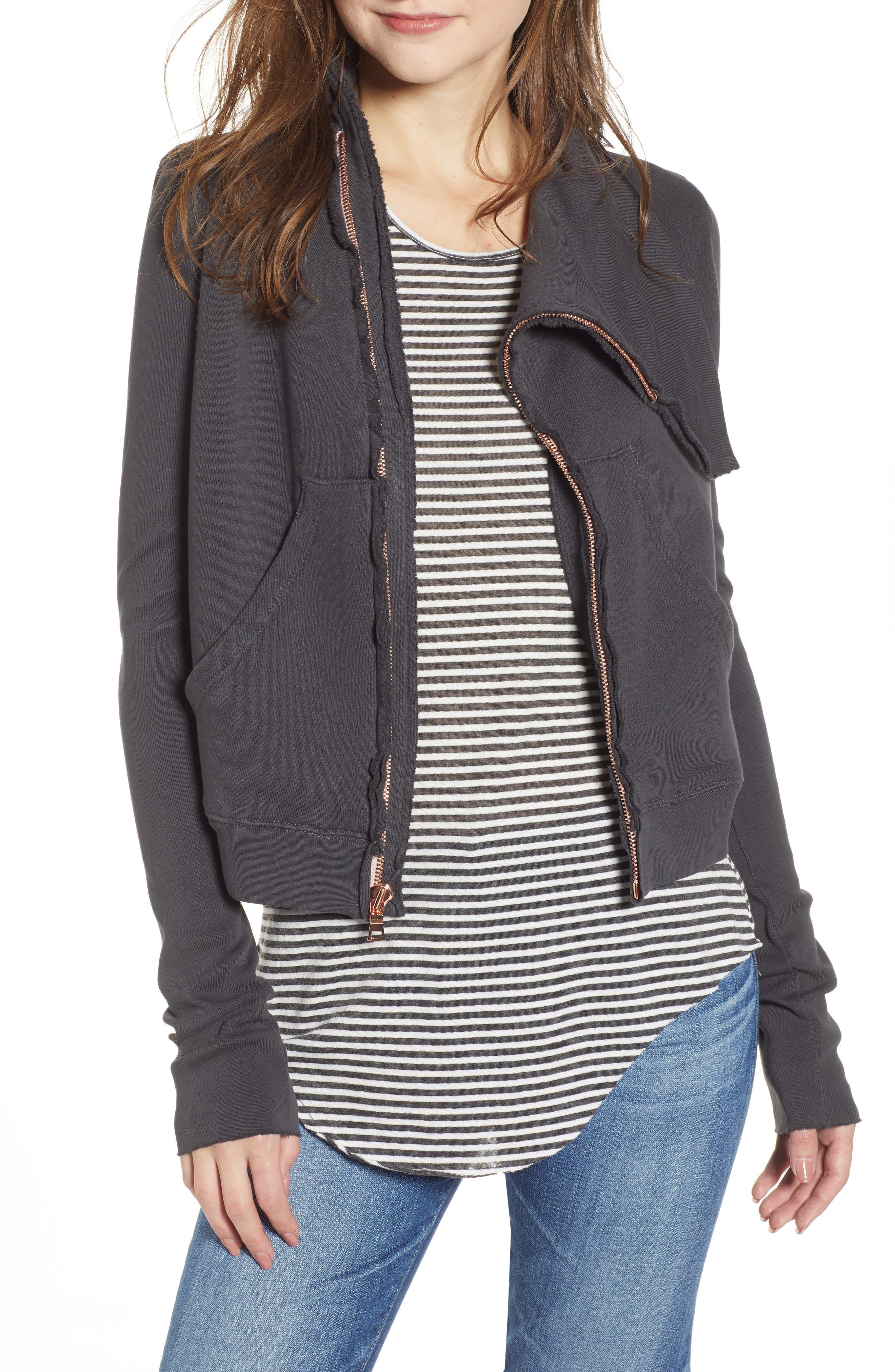 Side-Zip Cotton Fleece Jacket in Carbon