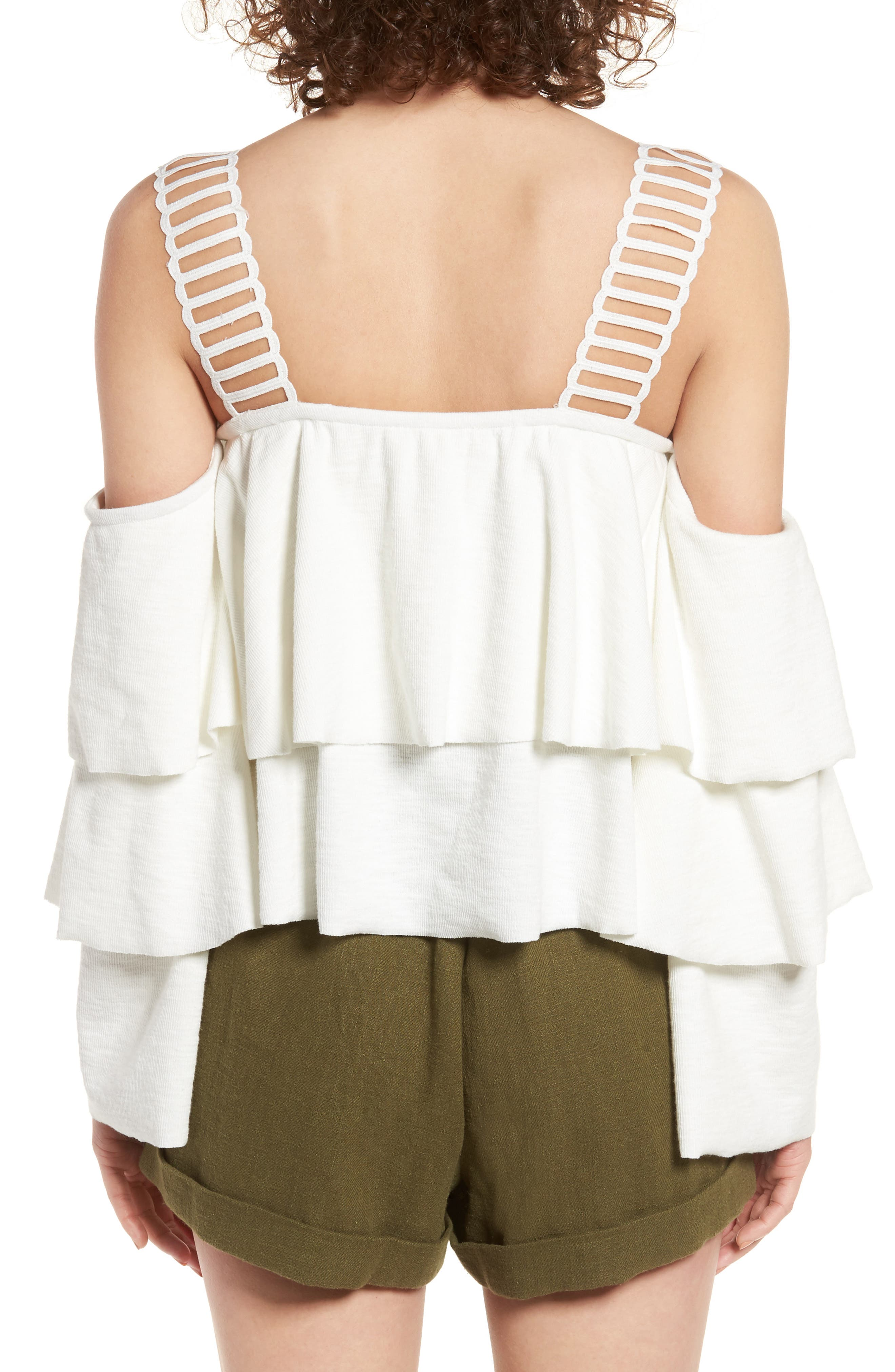 Lace & Ruffle Off the Shoulder Top,                             Alternate thumbnail 2, color,                             100