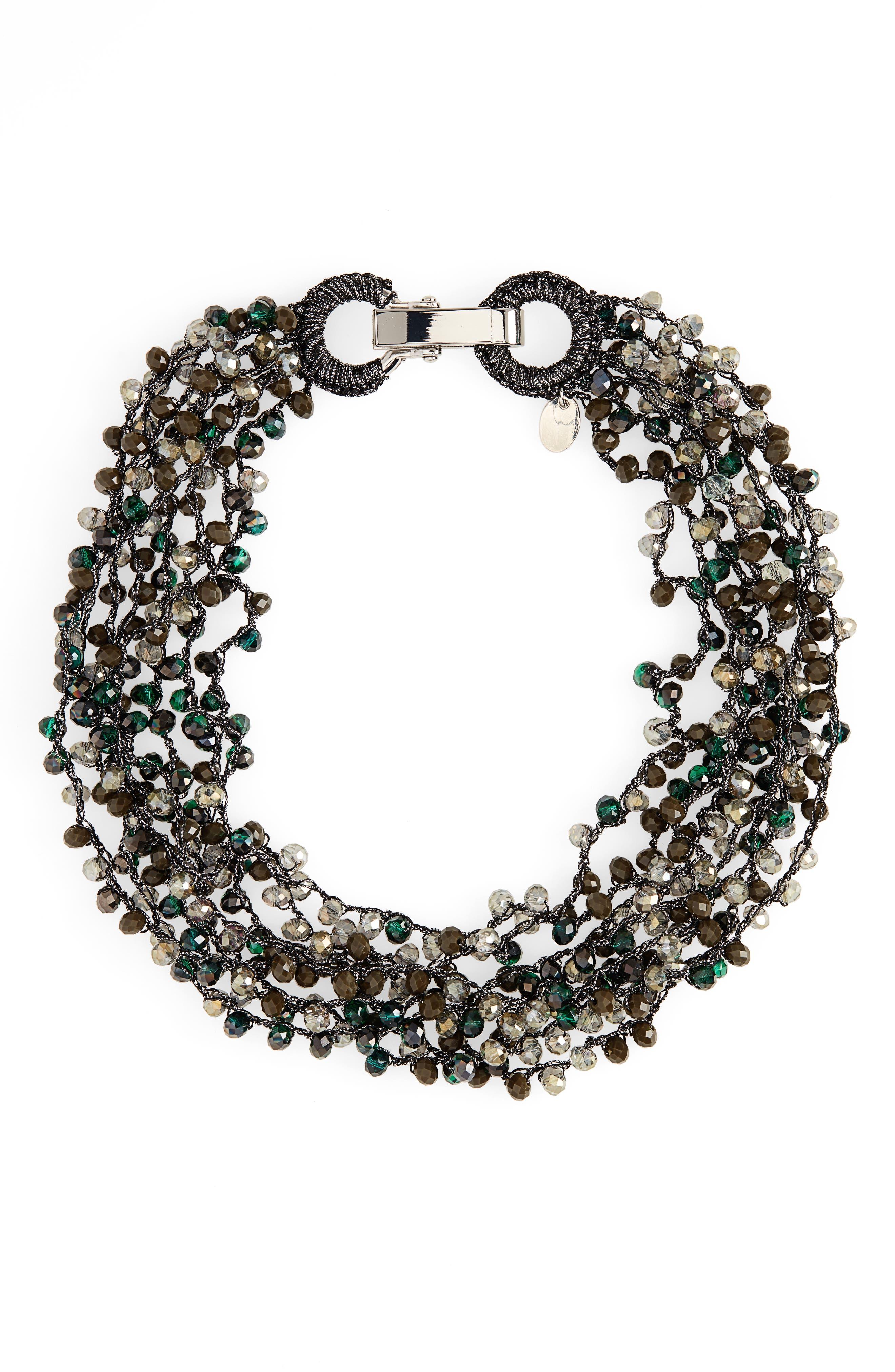 STELLA + RUBY Crochet Beaded Collar Necklace in Silver/ Green