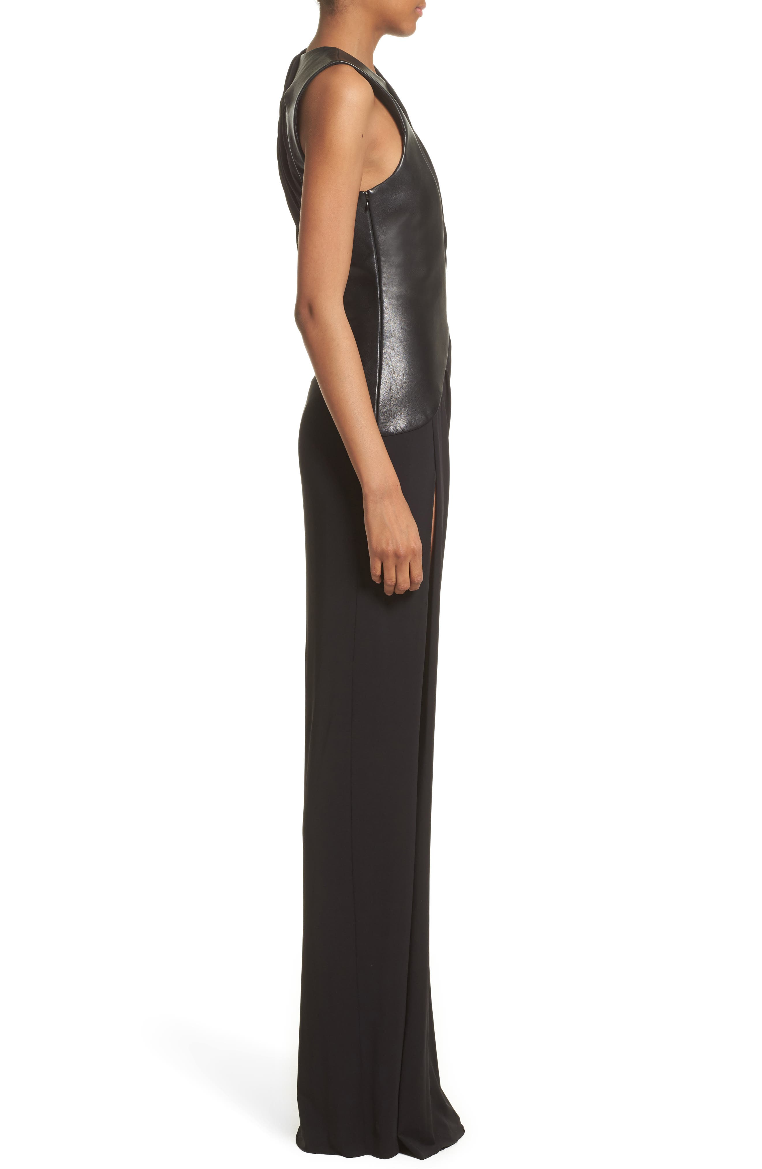 Draped Jersey & Leather Gown,                             Alternate thumbnail 3, color,