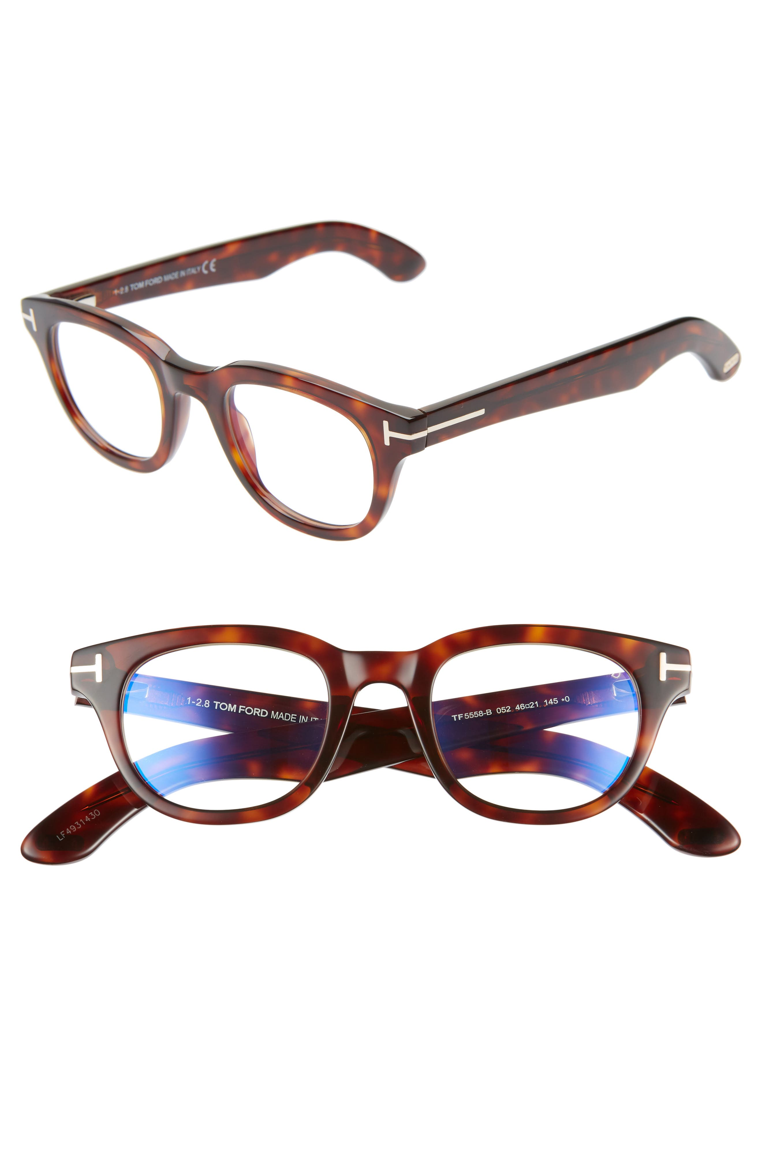 46mm Blue Light Blocking Glasses,                         Main,                         color, SHINY DARK HAVANA/ ROSE GOLD