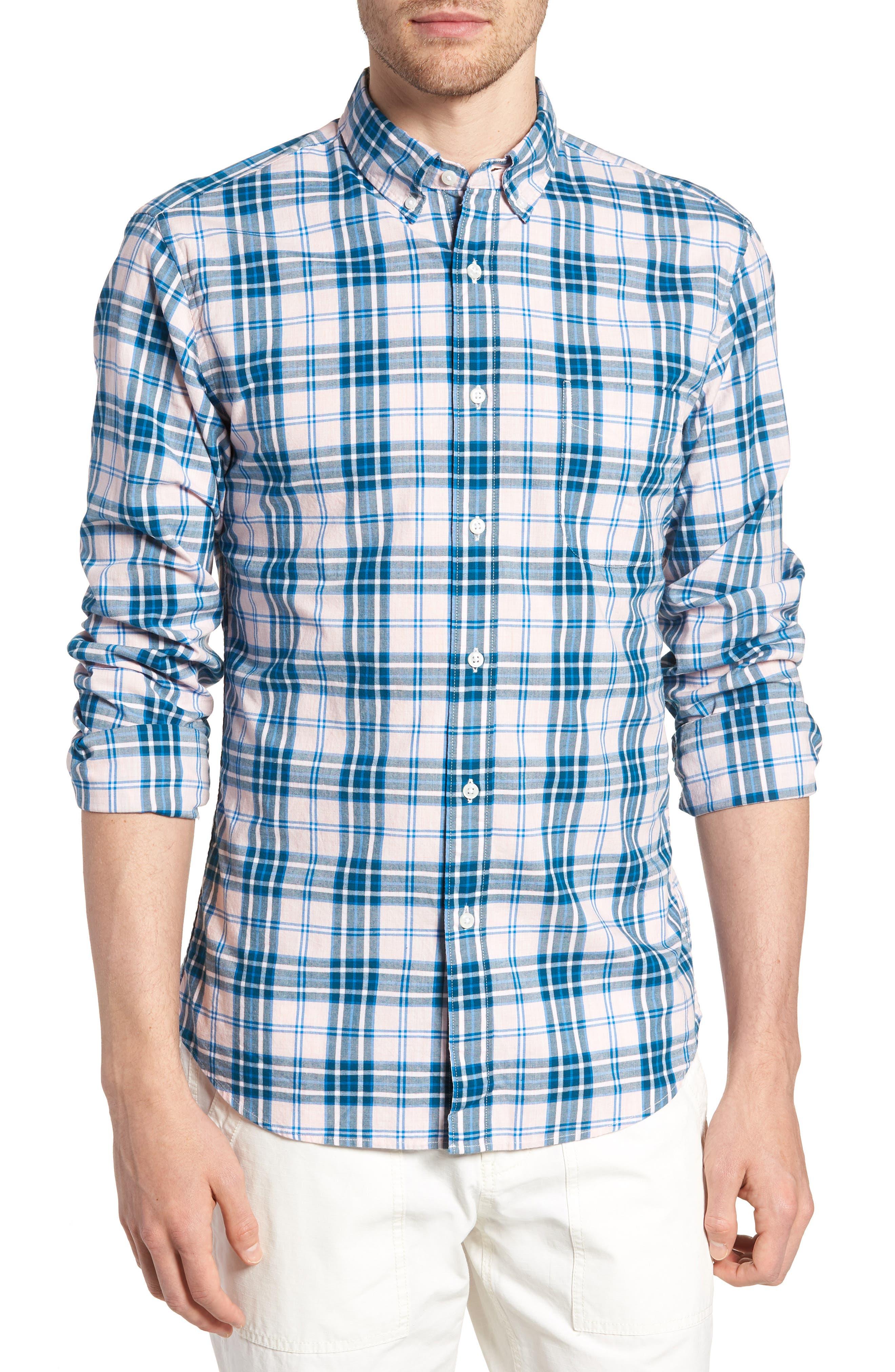 Slim Fit Stretch Secret Wash Heather Poplin Plaid Sport Shirt,                         Main,                         color,
