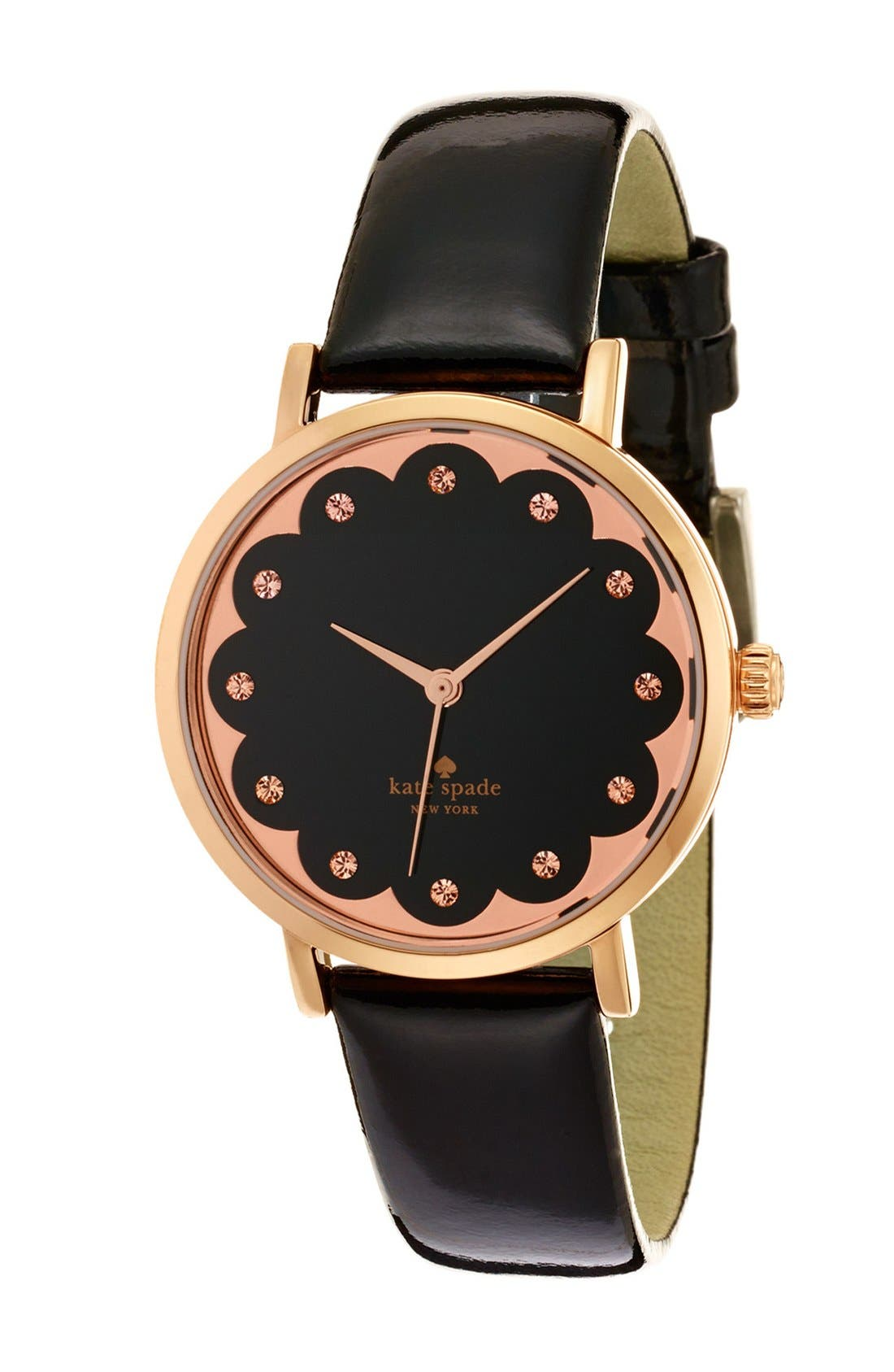 'metro' scallop dial leather strap watch, 34mm,                             Alternate thumbnail 3, color,                             001