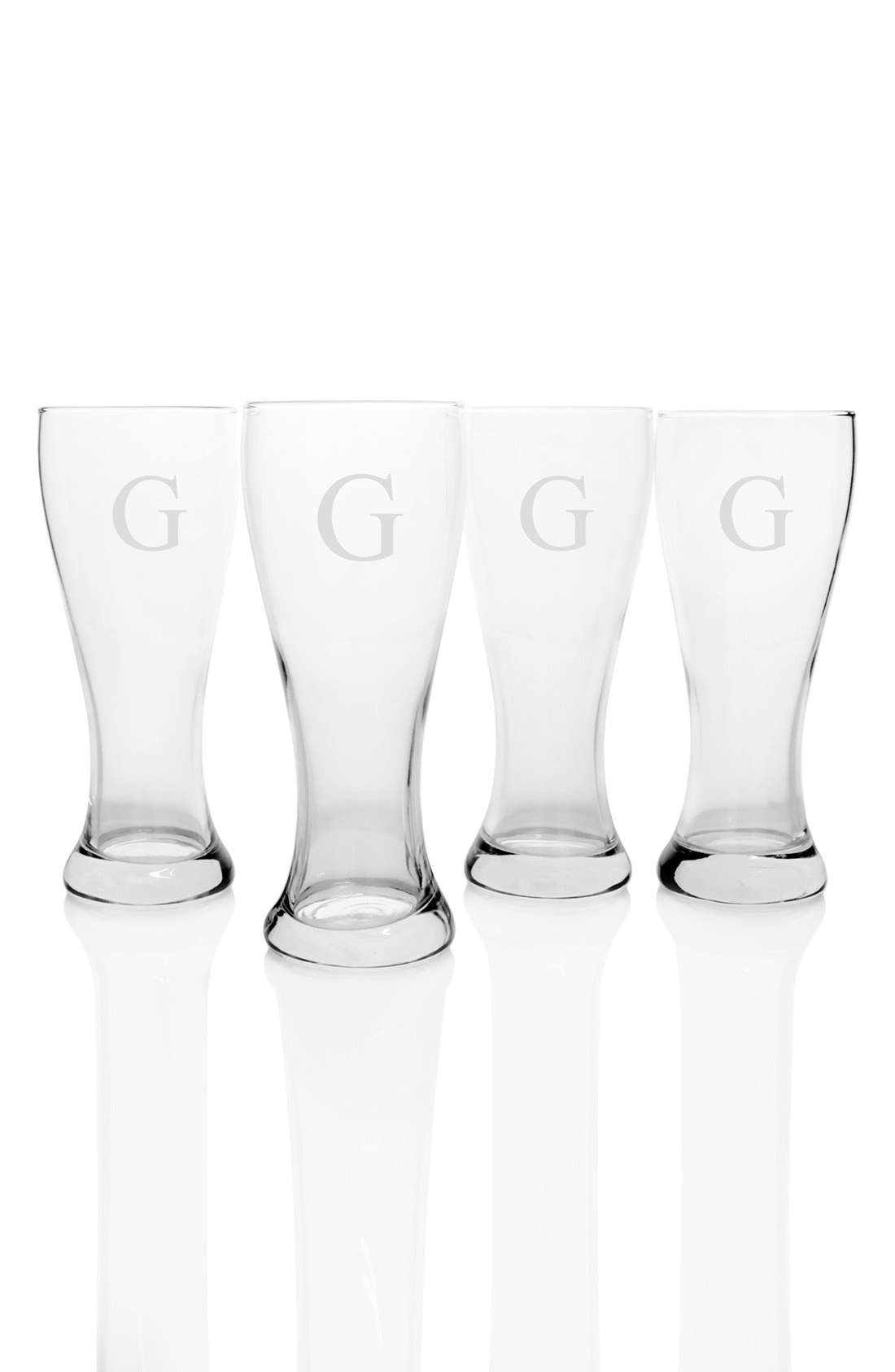 Monogram Pilsner Glasses,                             Main thumbnail 9, color,