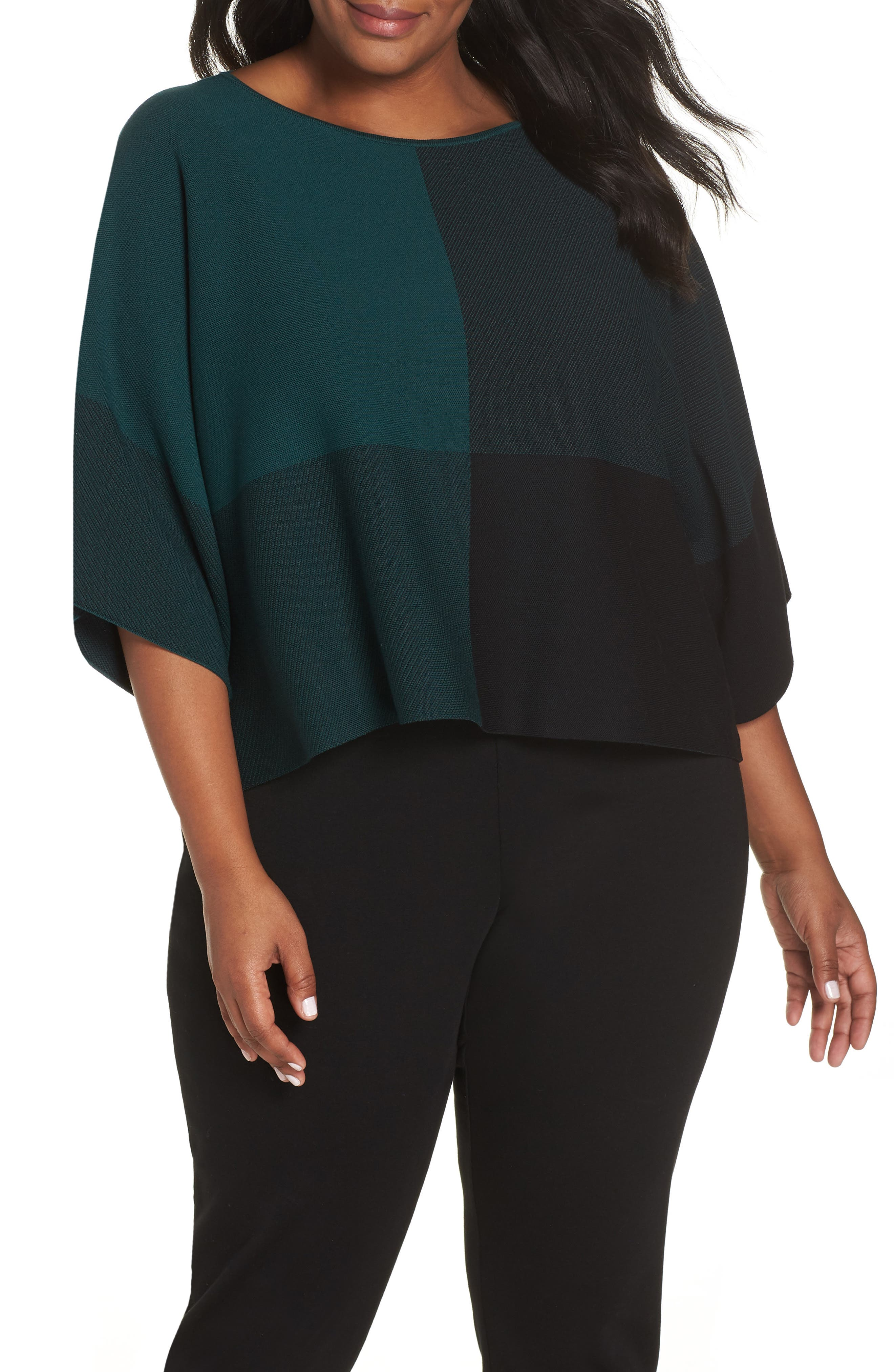Colorblock Tencel<sup>®</sup> Lyocell Sweater,                             Main thumbnail 1, color,                             PINE