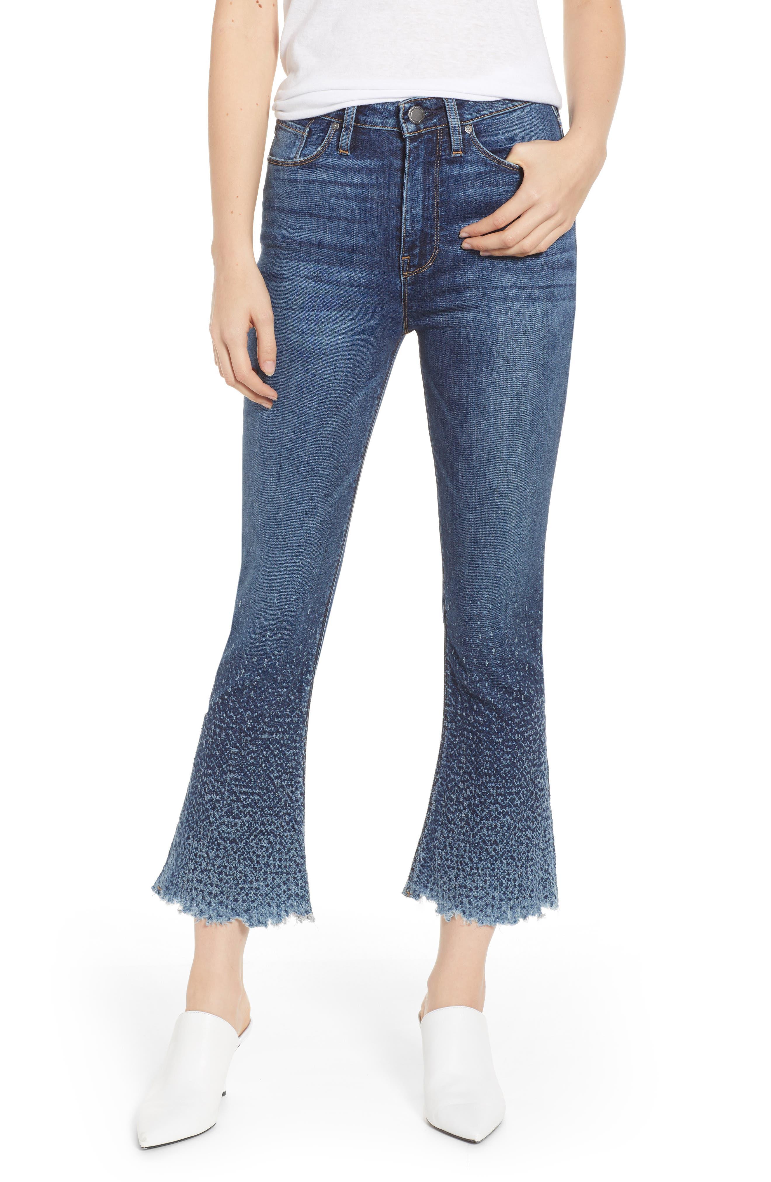 Holly High Waist Crop Flare Jeans,                             Main thumbnail 1, color,                             DIST. SUNDOWN DISTRESSED