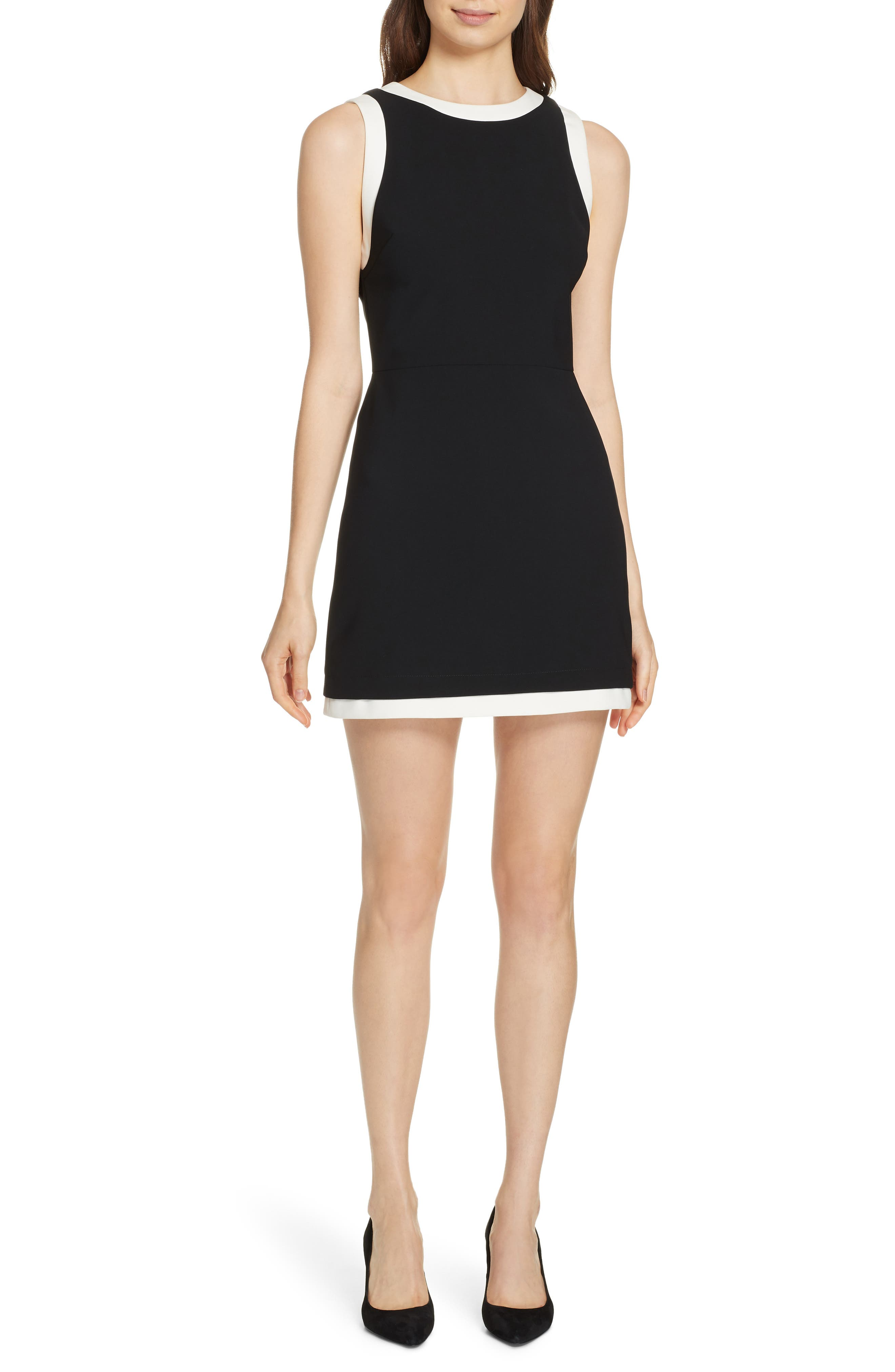 Alice + Olivia Truly Banded Detail Fit & Flare Minidress, Black