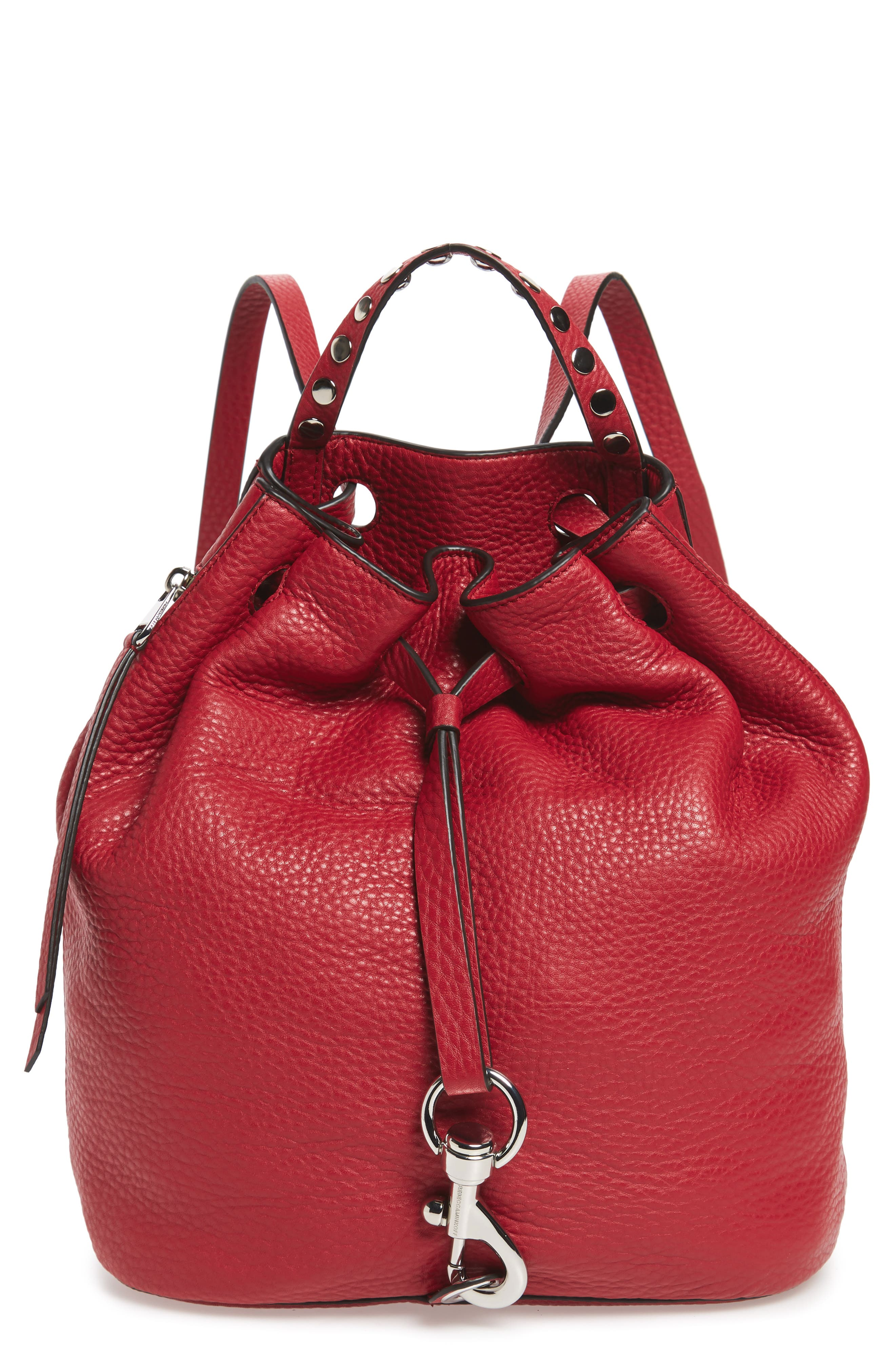 Blythe Leather Backpack,                             Main thumbnail 1, color,                             SCARLET