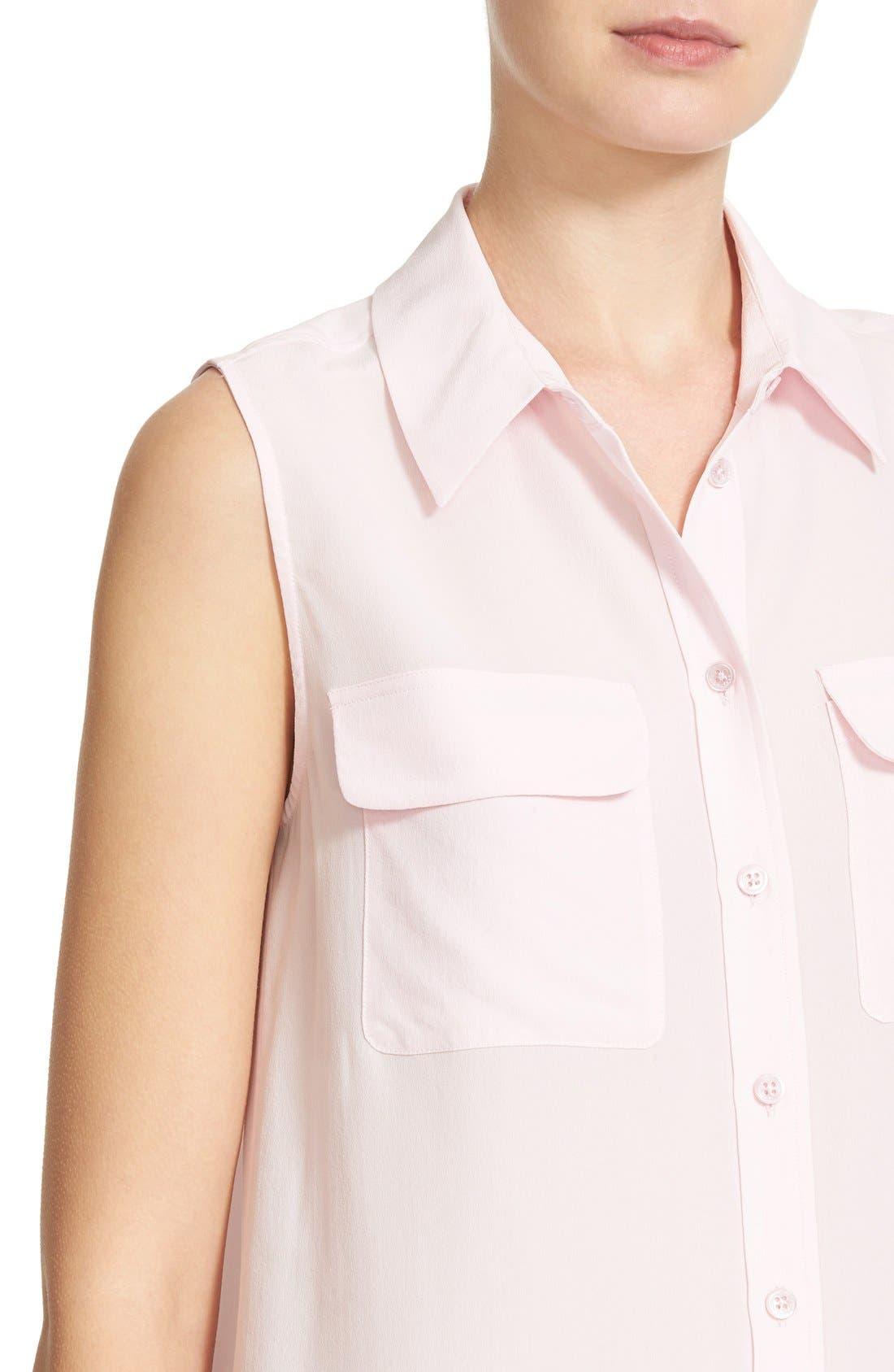 'Slim Signature' Sleeveless Silk Shirt,                             Alternate thumbnail 181, color,