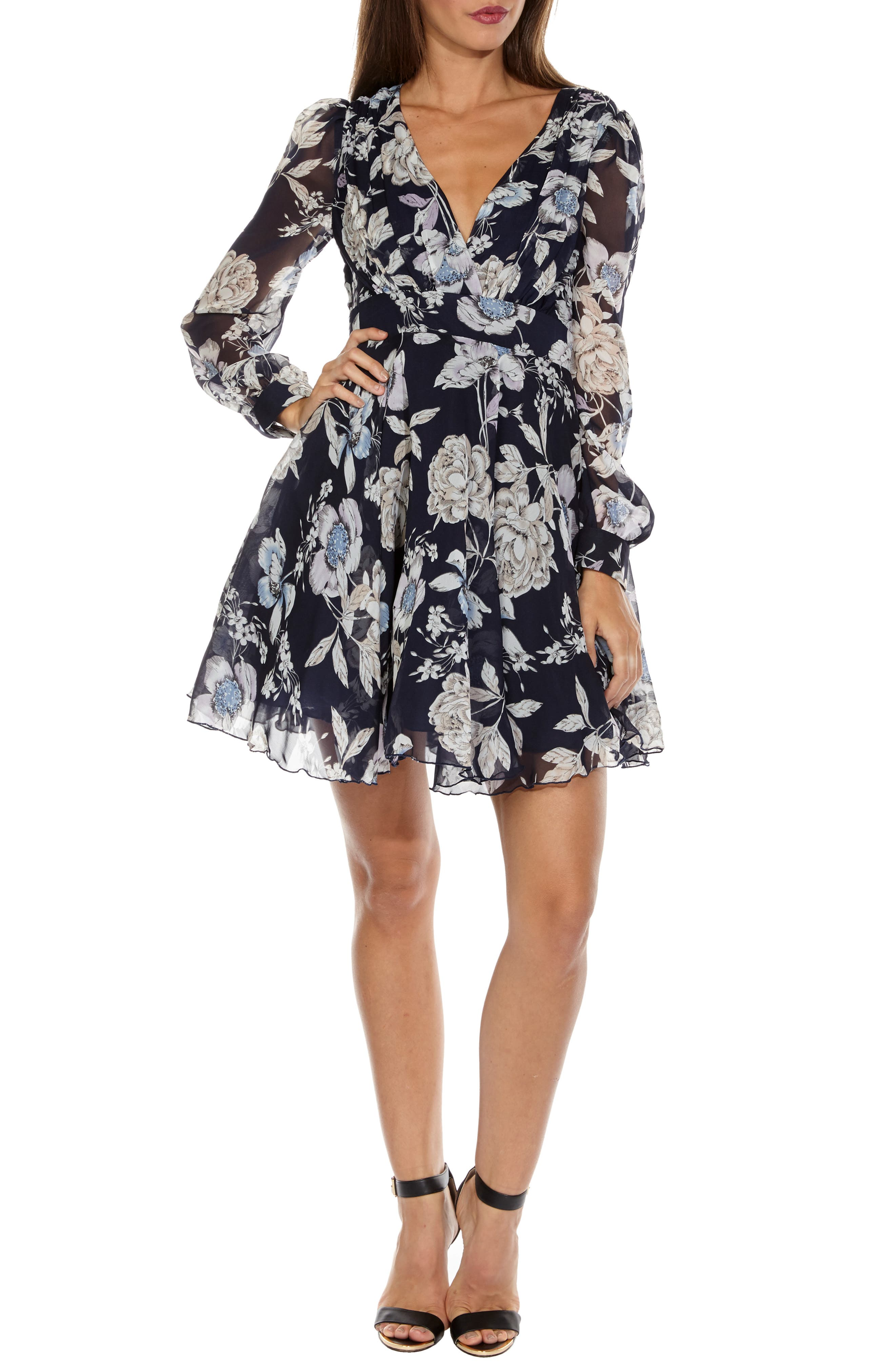 Nordi Floral Fit & Flare Party Dress,                             Main thumbnail 1, color,                             FLORAL PRINT