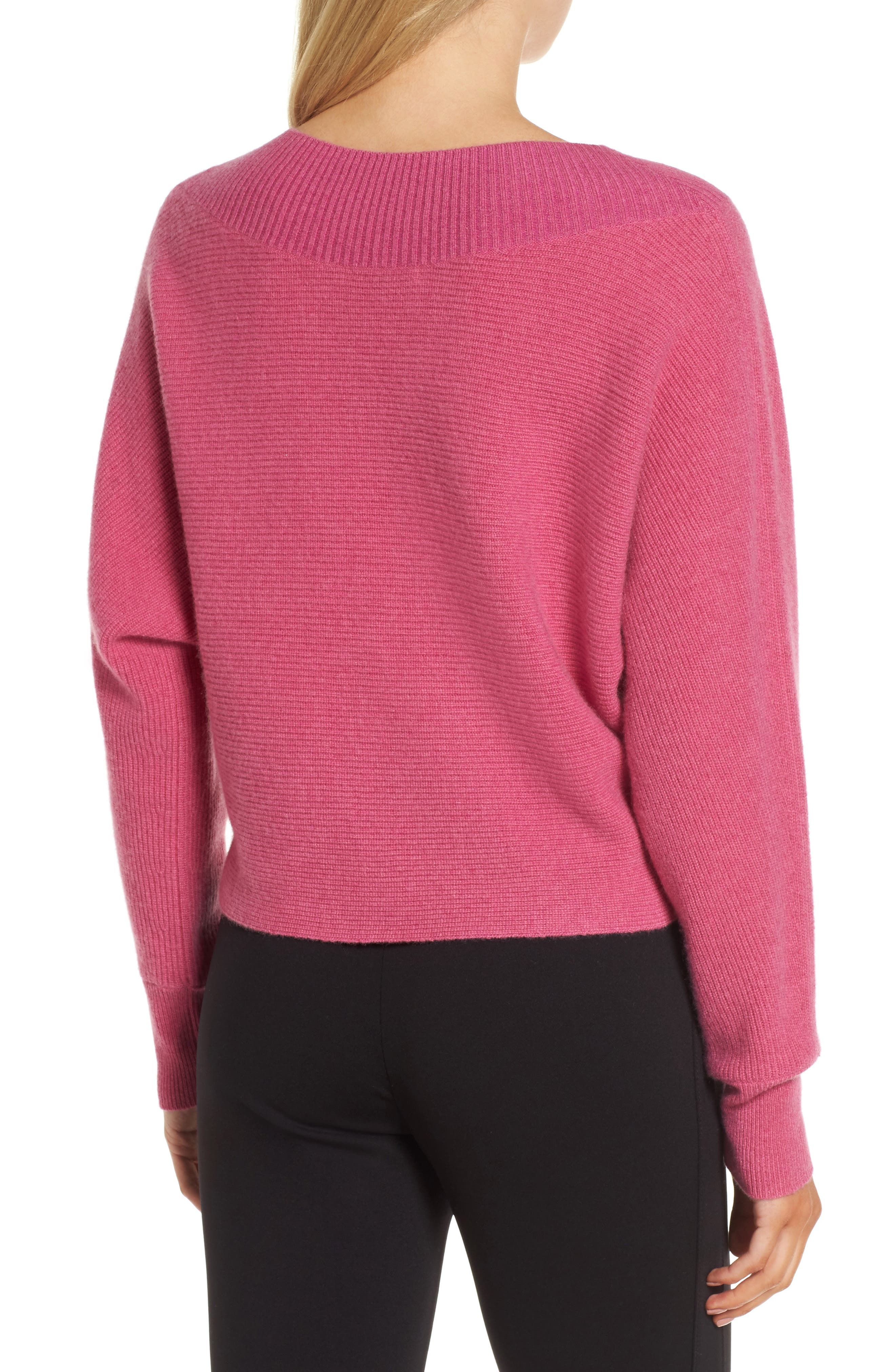 Dolman Sleeve Cashmere Sweater,                             Alternate thumbnail 4, color,