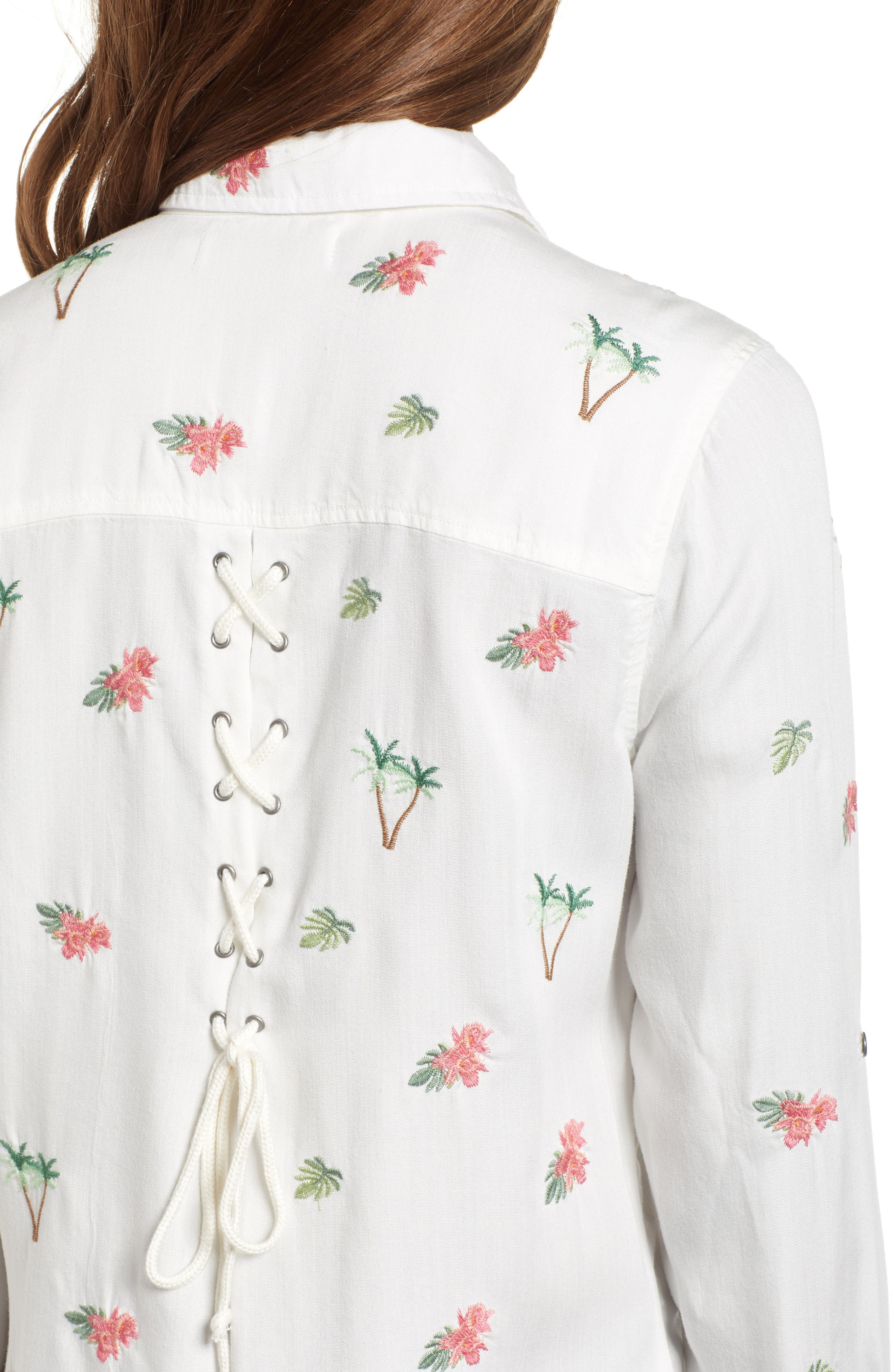 Laced Back Button Up Shirt,                             Alternate thumbnail 4, color,                             100