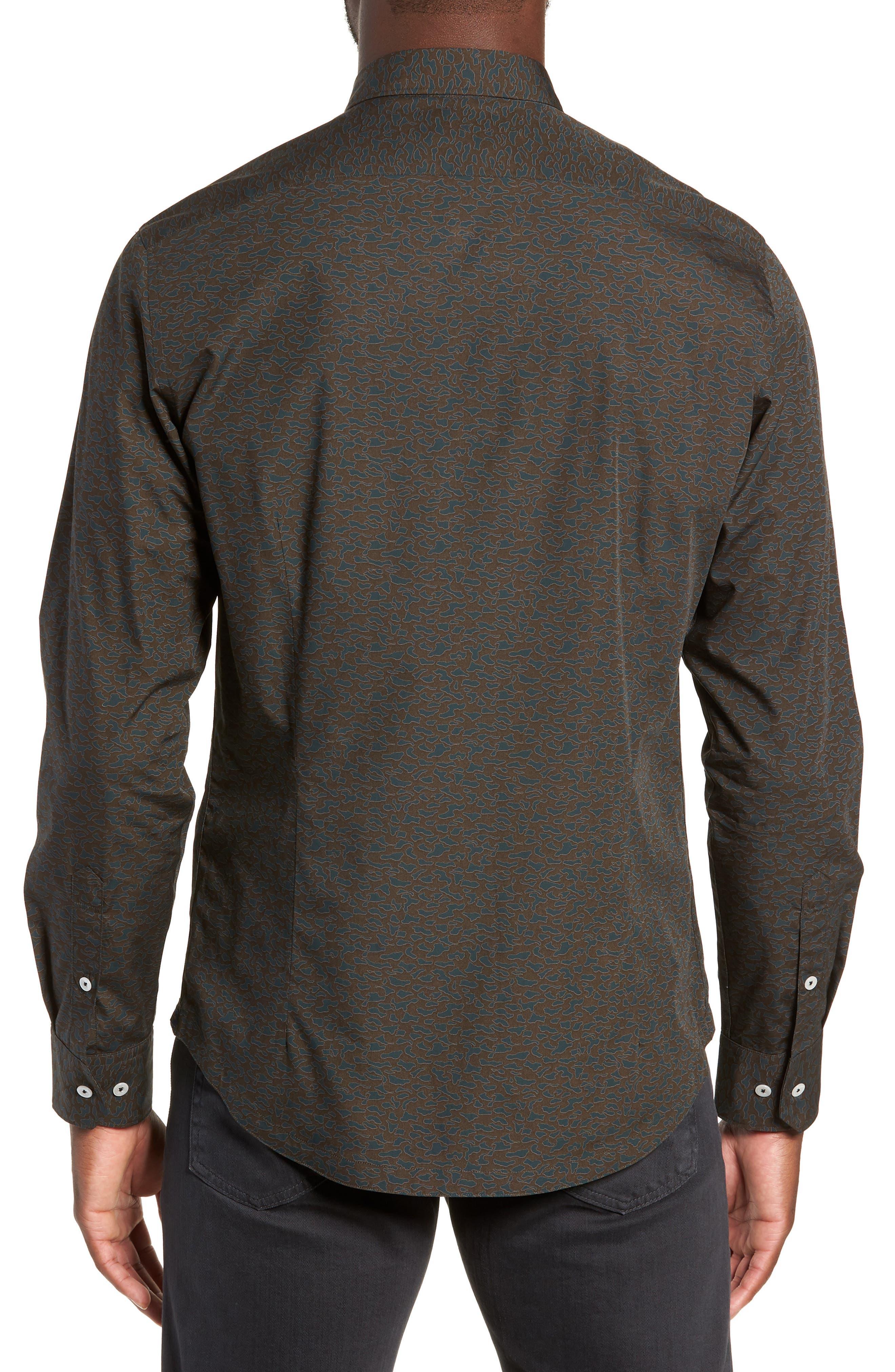 Camo Slim Fit Cotton Sport Shirt,                             Alternate thumbnail 2, color,                             FOREST