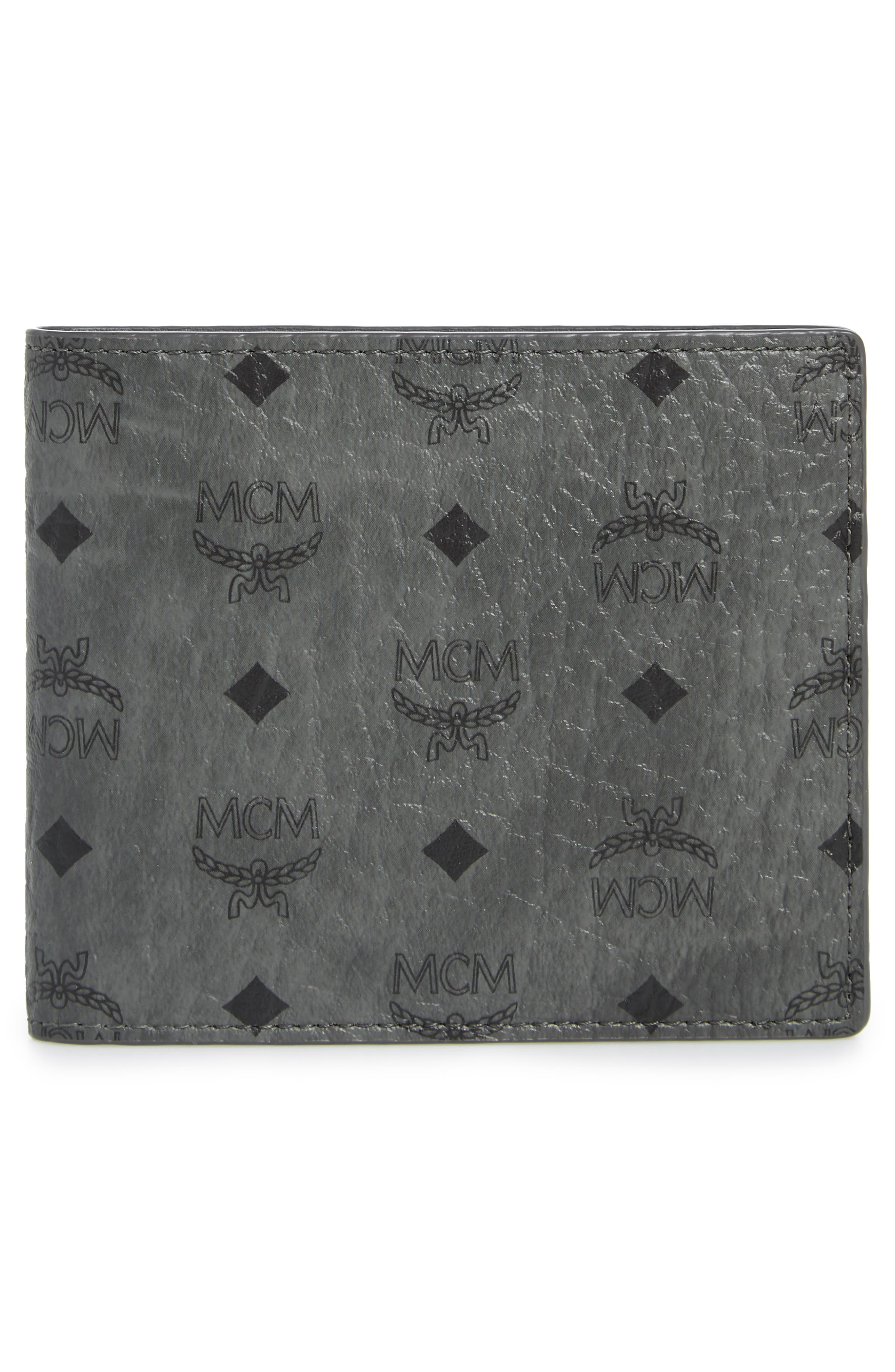 Logo Coated Canvas & Leather Wallet,                             Alternate thumbnail 3, color,                             PHANTOM GREY