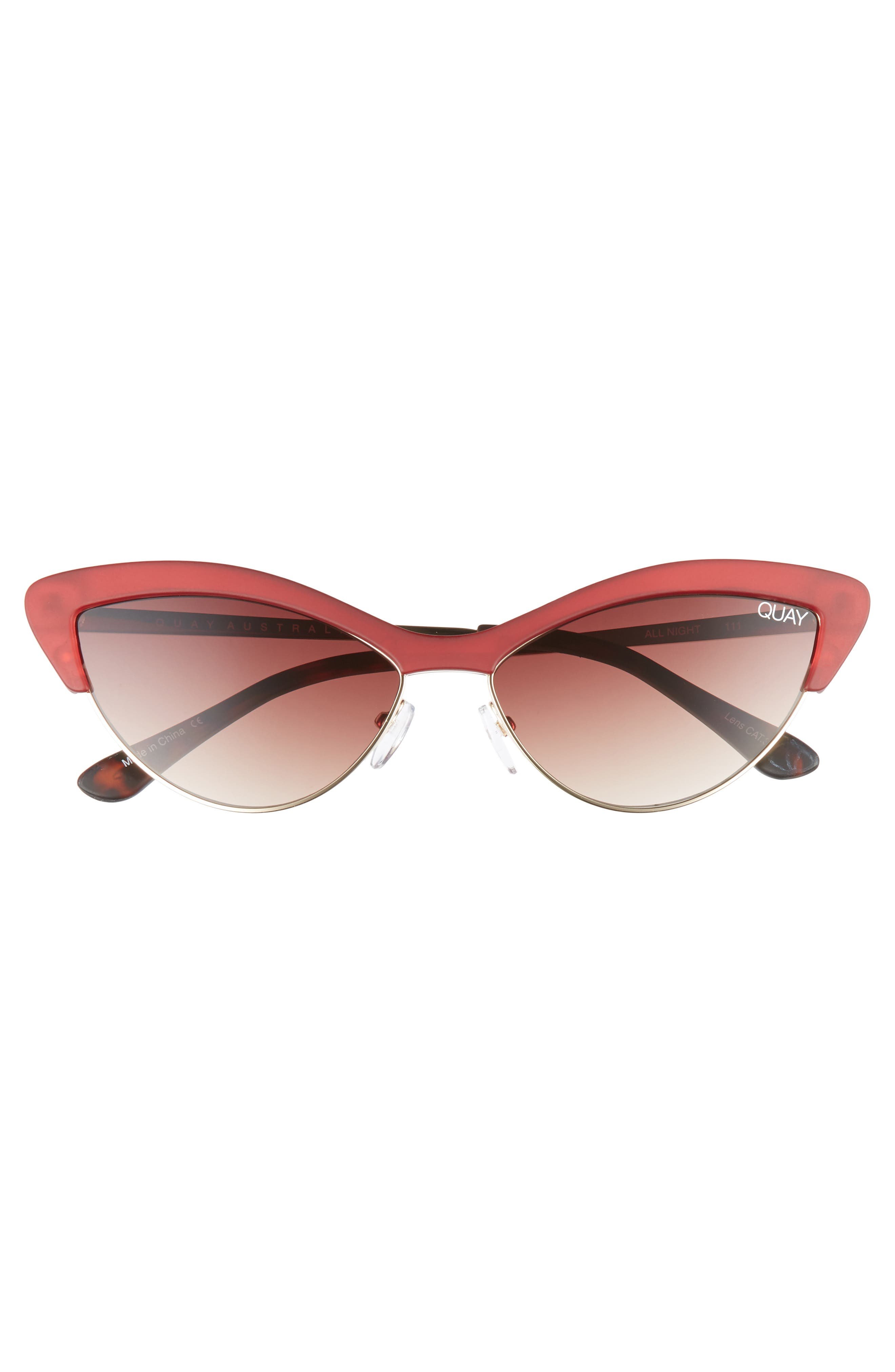 All Night 60mm Cat Eye Sunglasses,                             Alternate thumbnail 3, color,                             RED/ BROWN