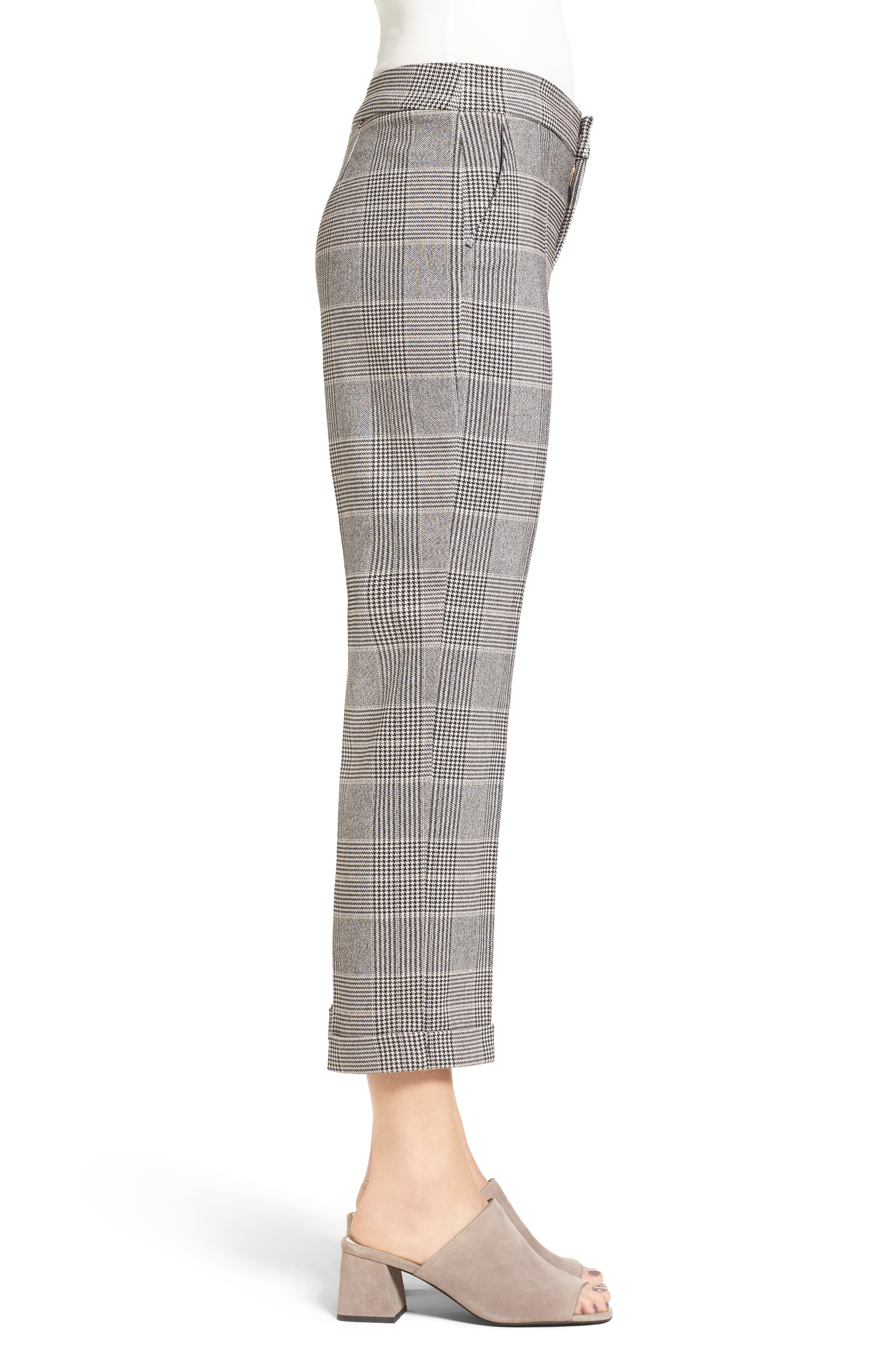 Denise Glen Plaid Cuff Slim Ankle Pants,                             Alternate thumbnail 3, color,                             001