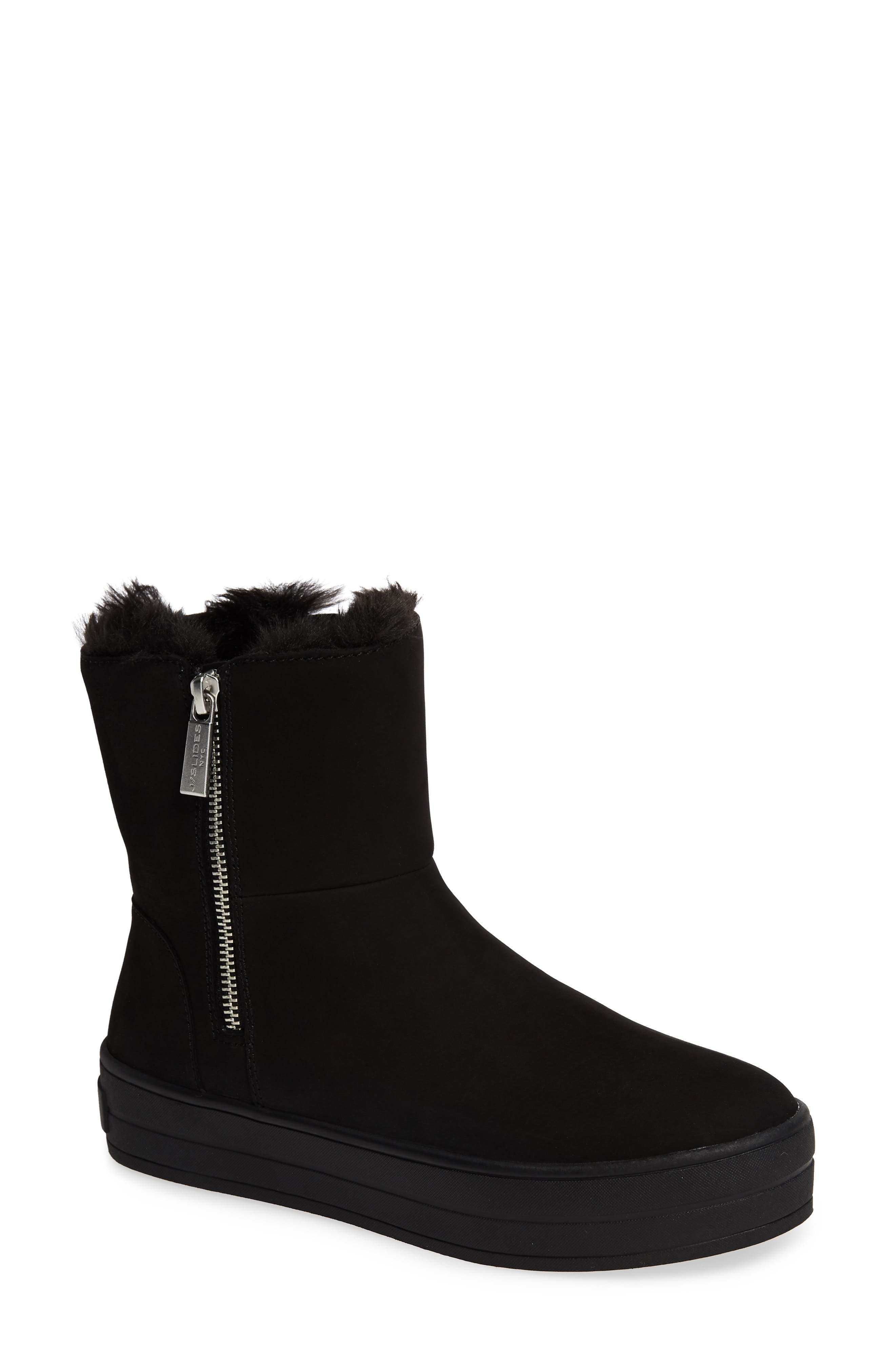 JSLIDES Henley Faux Fur Lined Bootie in Black Nubuck