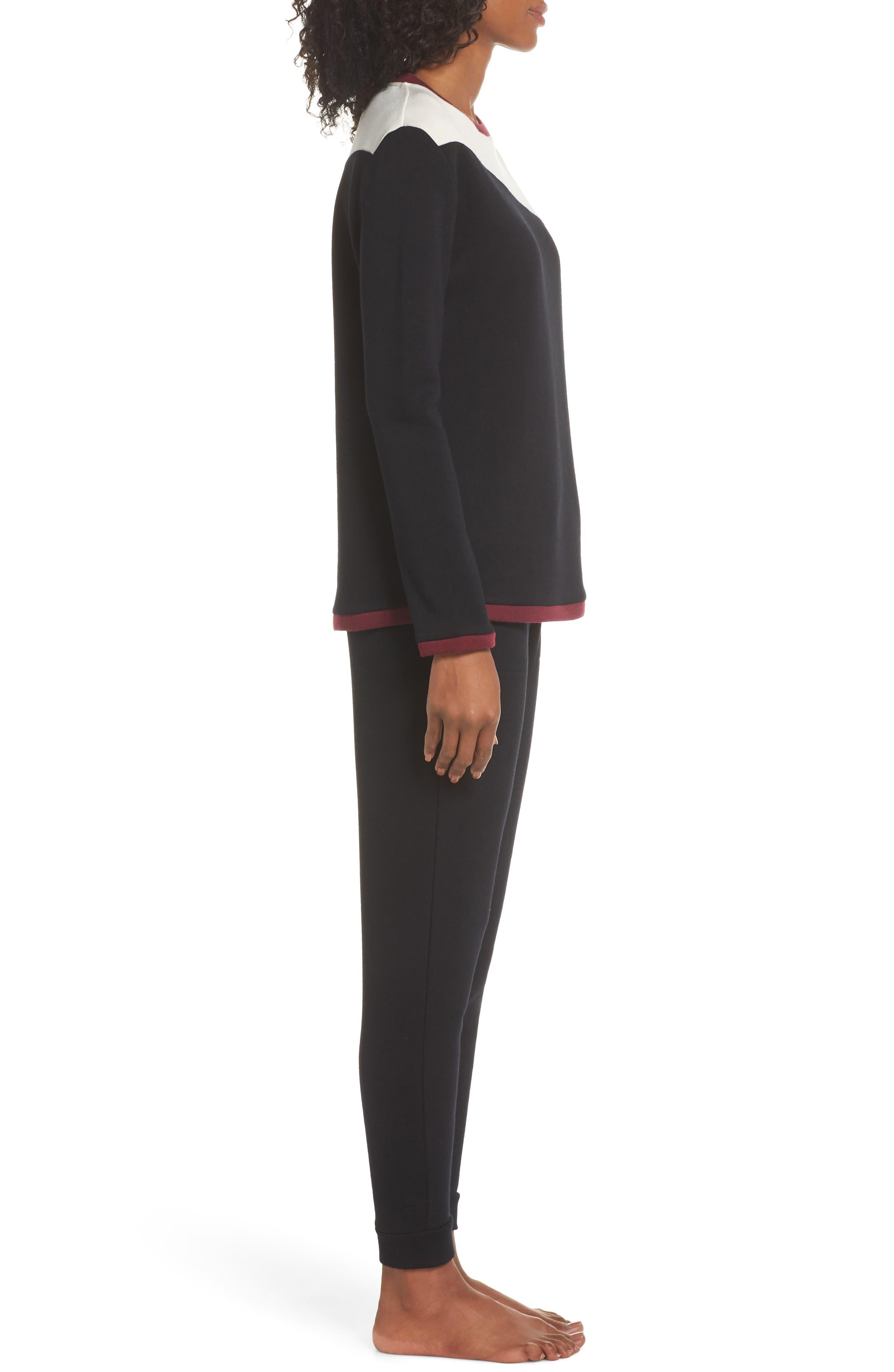 Fleece Cozy Lounger Pajamas,                             Alternate thumbnail 3, color,                             BLACK