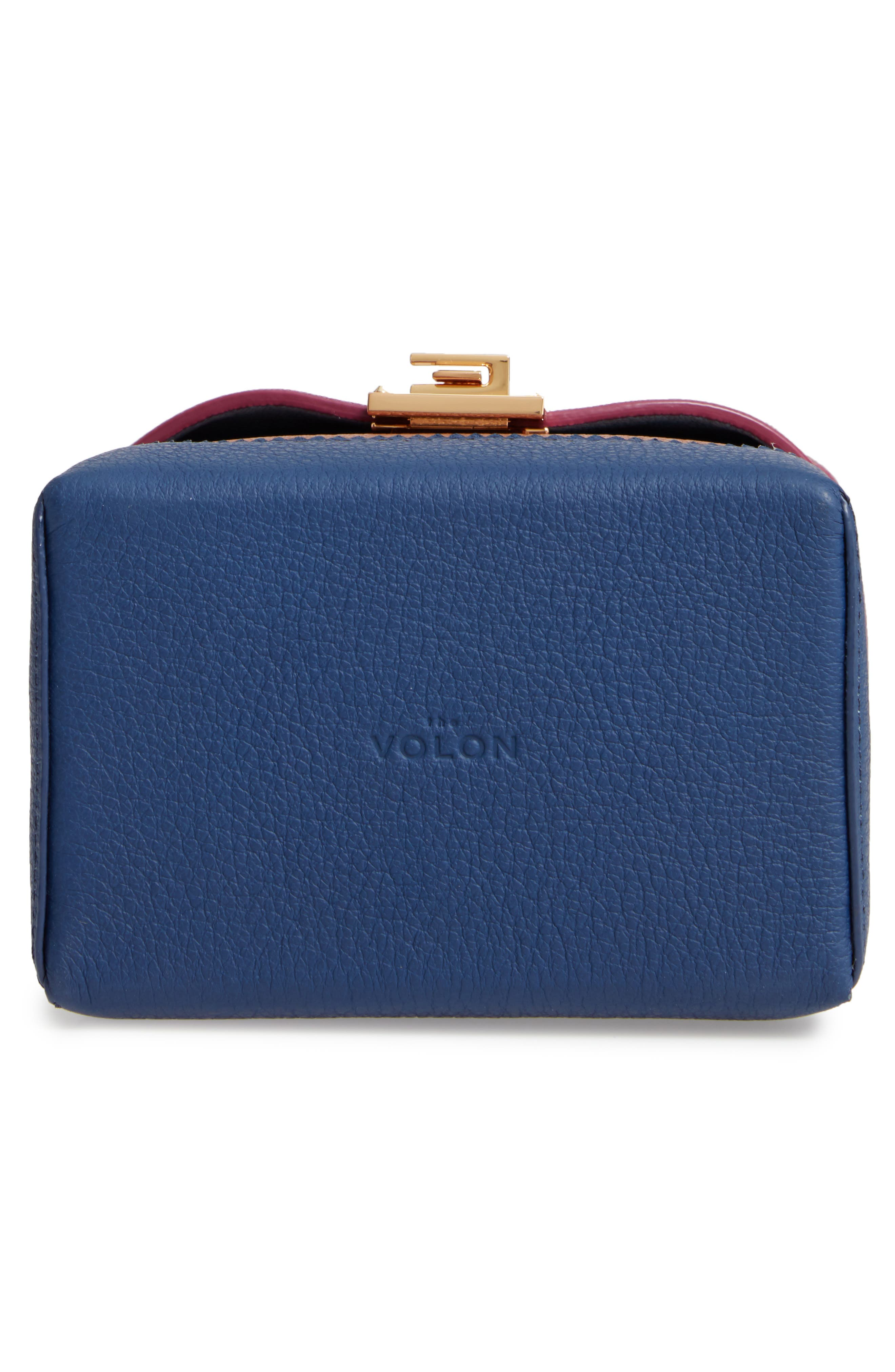 Great Alice Leather Box Bag,                             Alternate thumbnail 6, color,                             VIOLET/ SKY