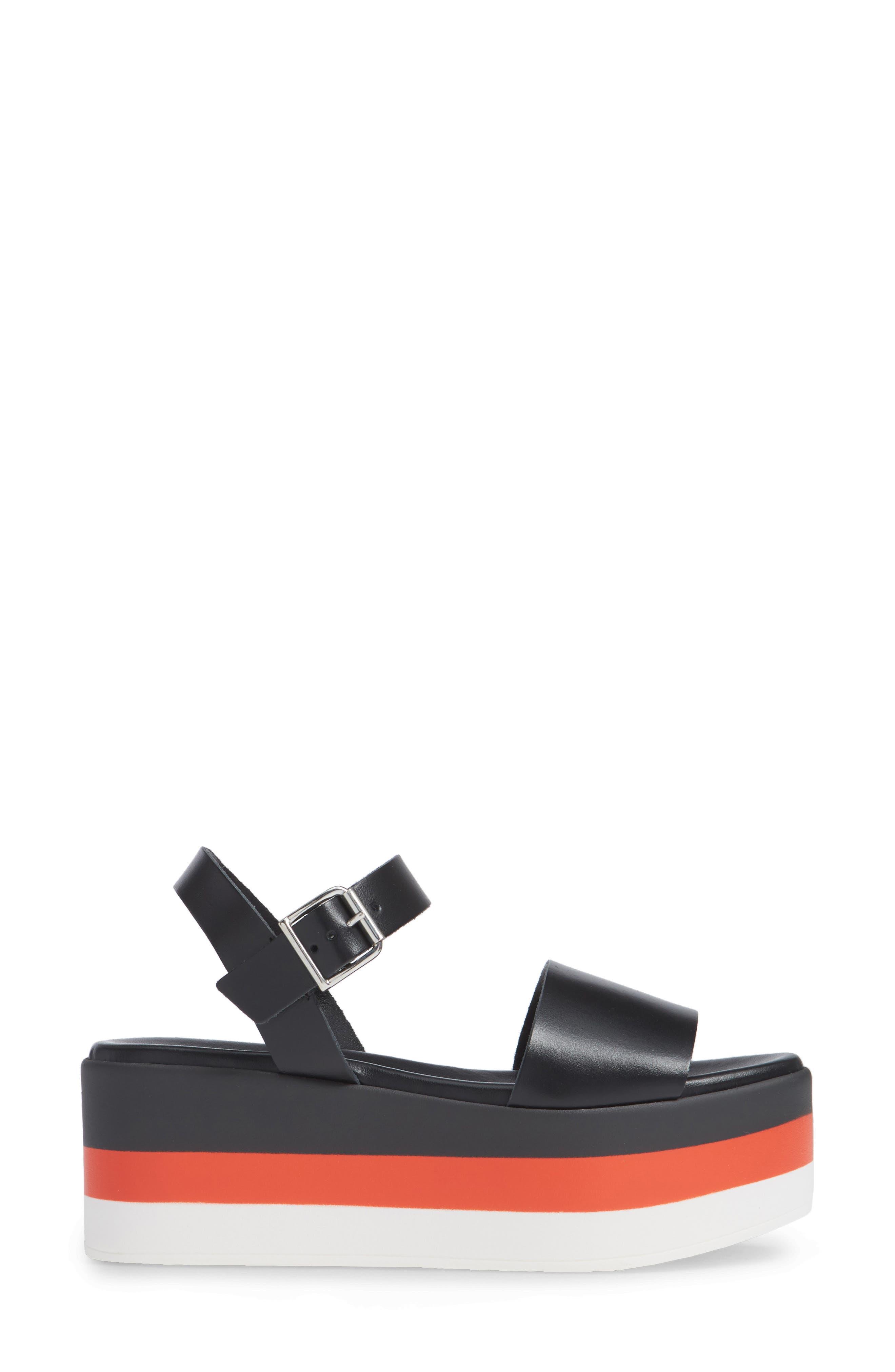 Holly Stripe Platform Sandal,                             Alternate thumbnail 3, color,                             BLACK LEATHER