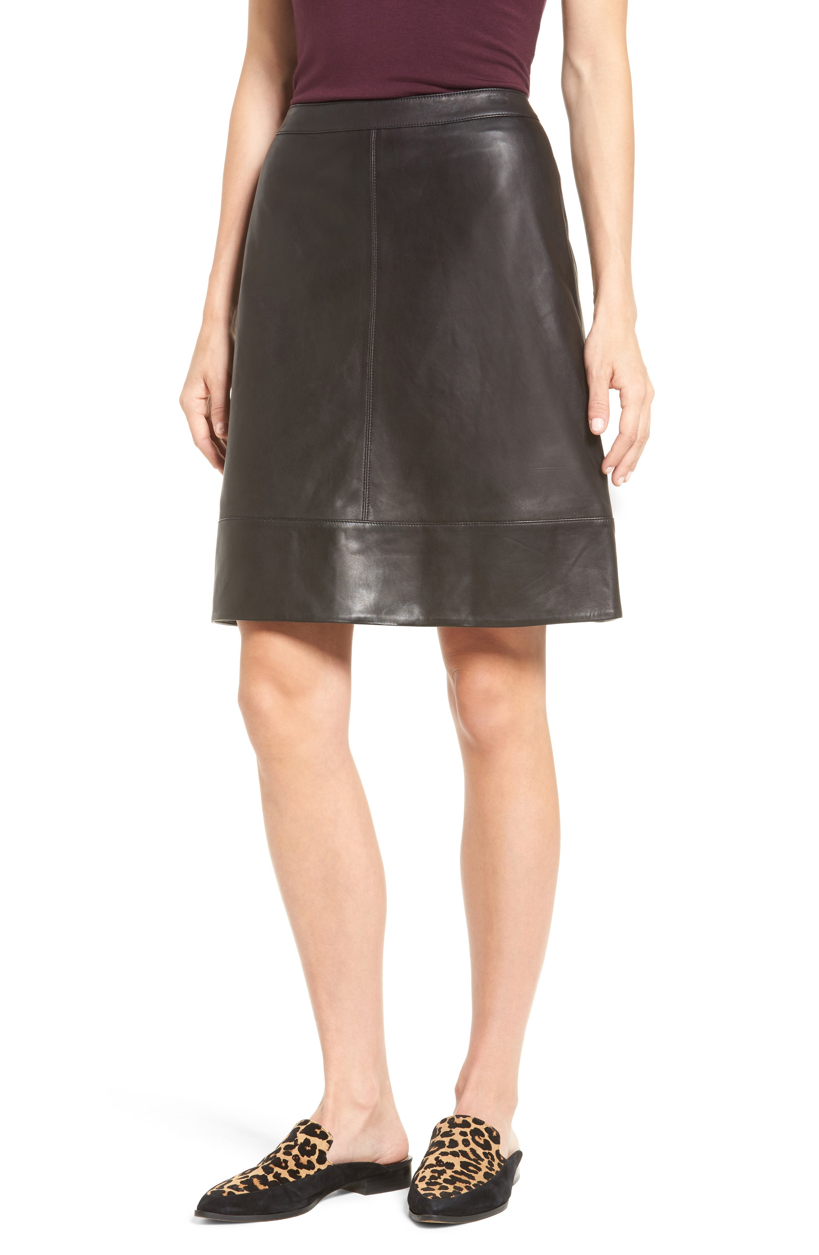 A-Line Leather Skirt,                             Main thumbnail 1, color,                             001