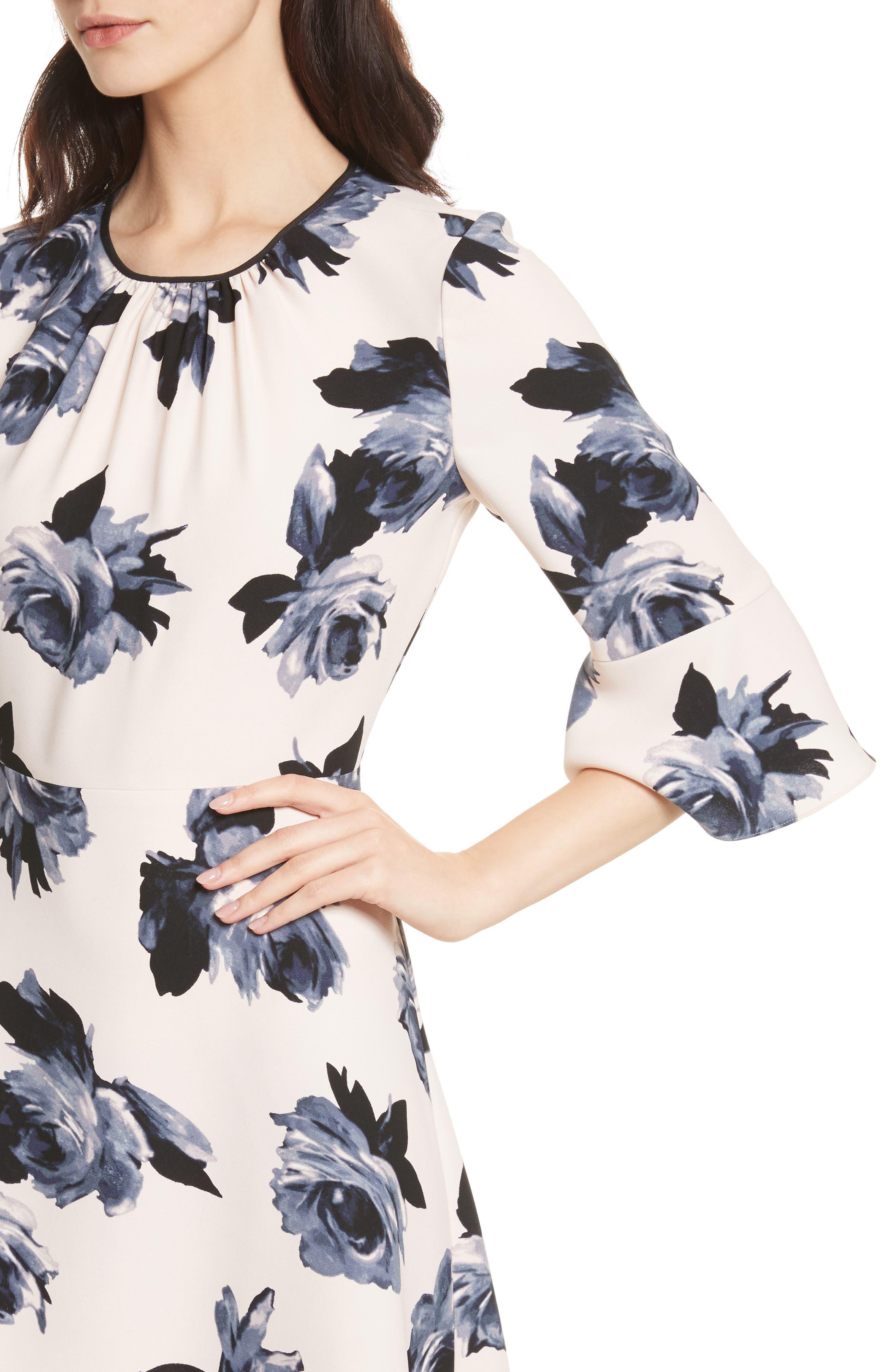 night rose ruffle sleeve dress,                             Alternate thumbnail 4, color,                             672