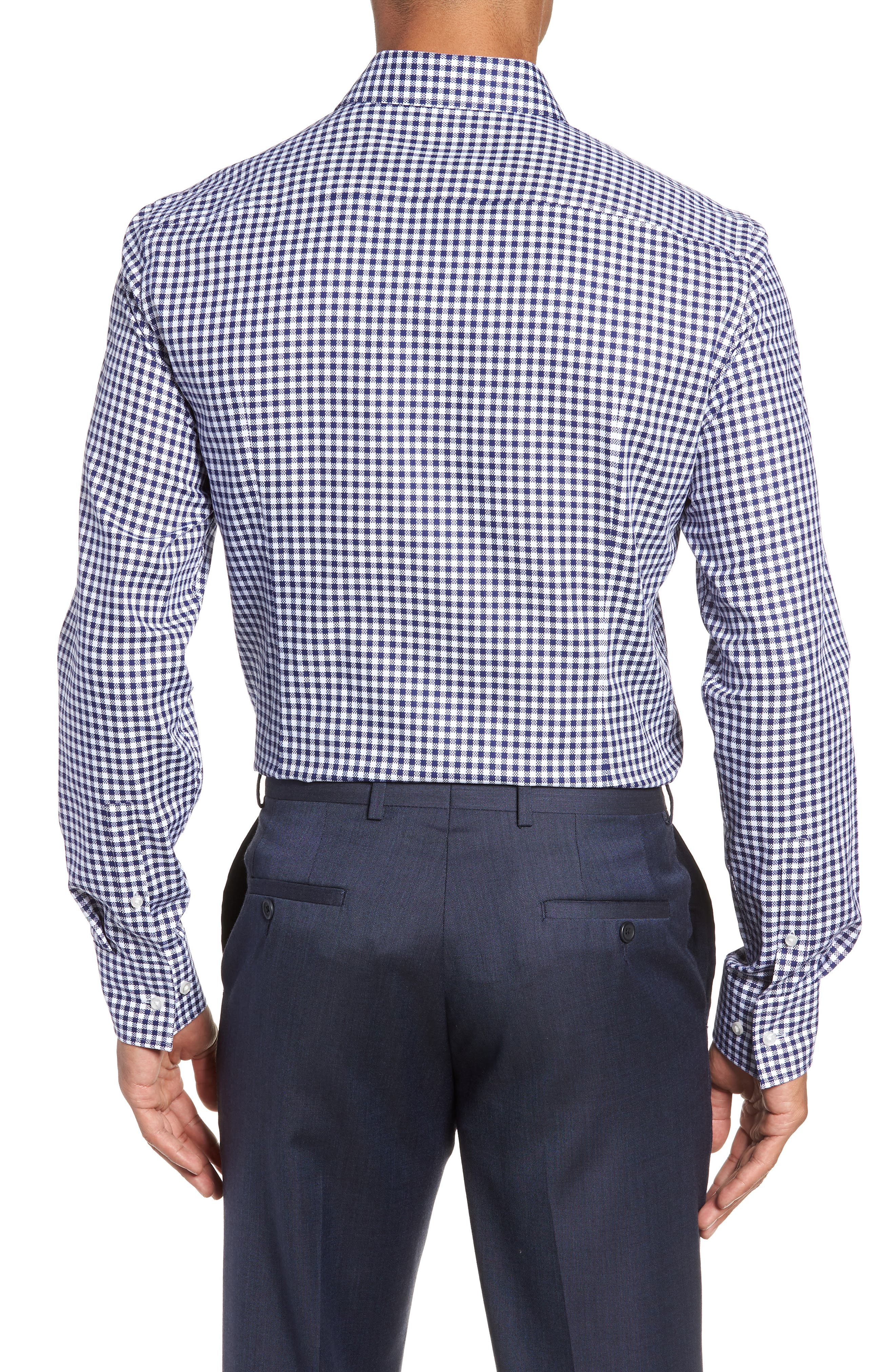 Jason Slim Fit Check Dress Shirt,                             Alternate thumbnail 3, color,                             NAVY