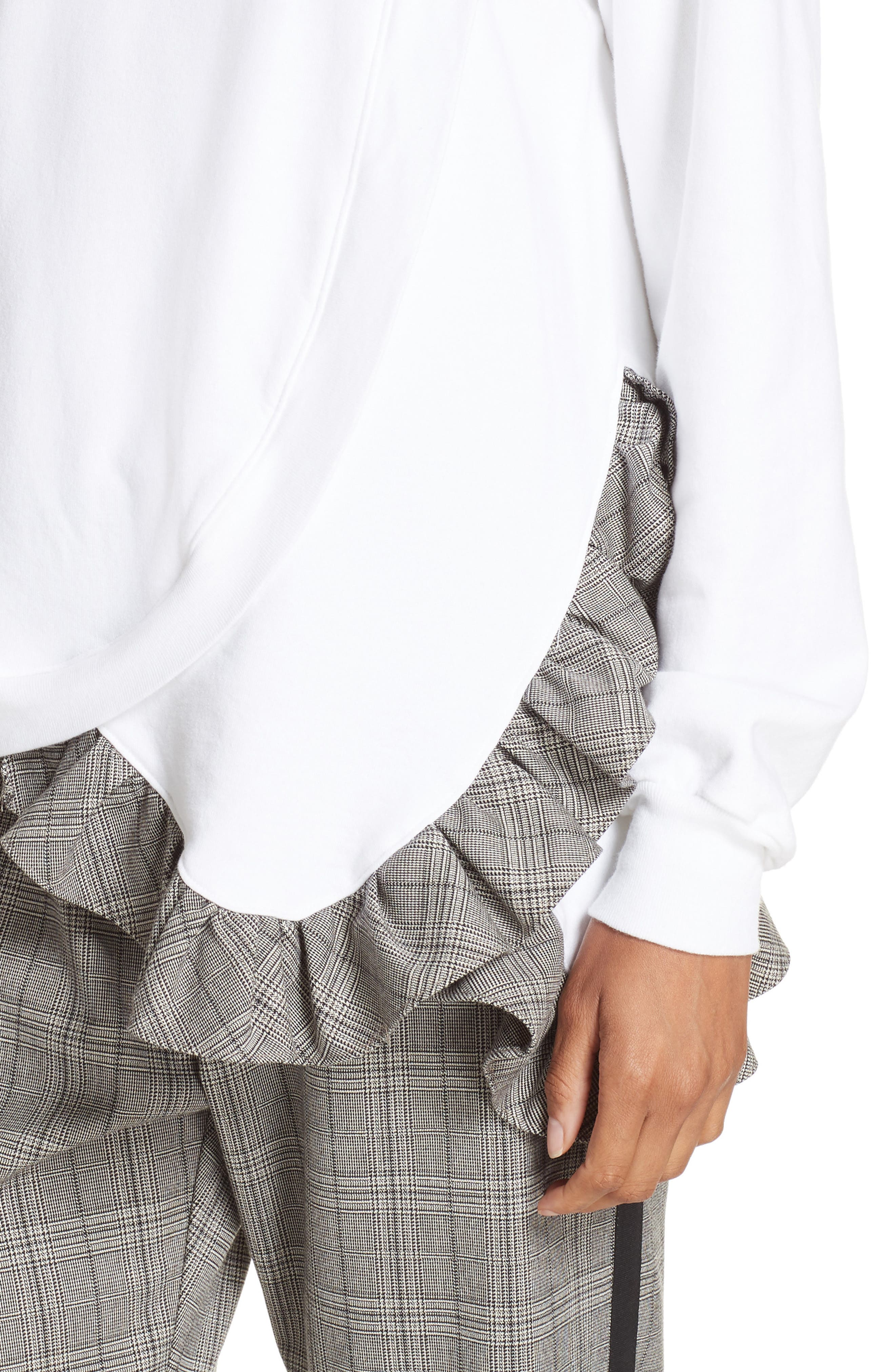Ruffle Asymmetric Sweatshirt,                             Alternate thumbnail 4, color,                             WHITE