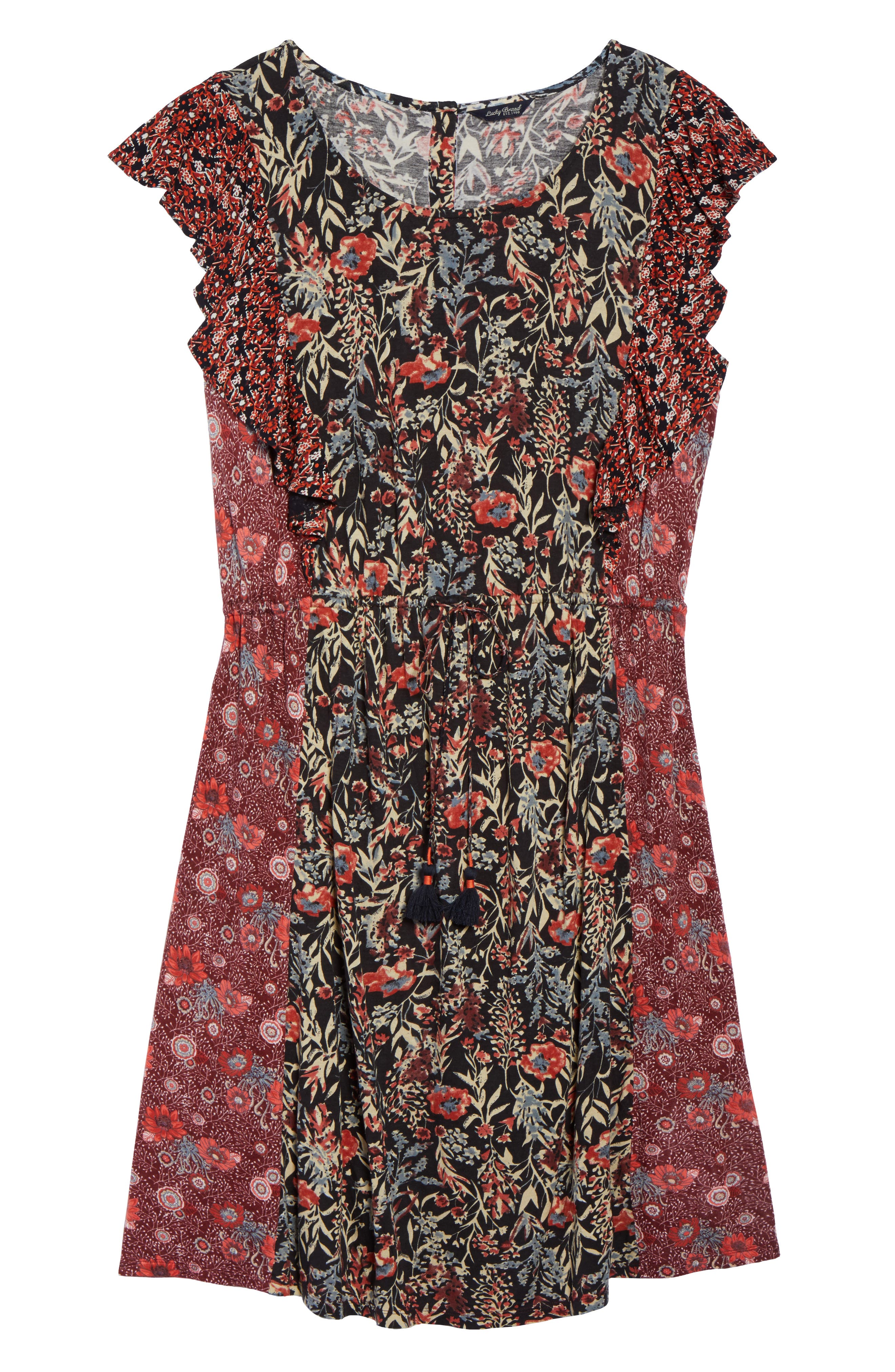 Mixed Floral Print Dress,                             Alternate thumbnail 6, color,                             640