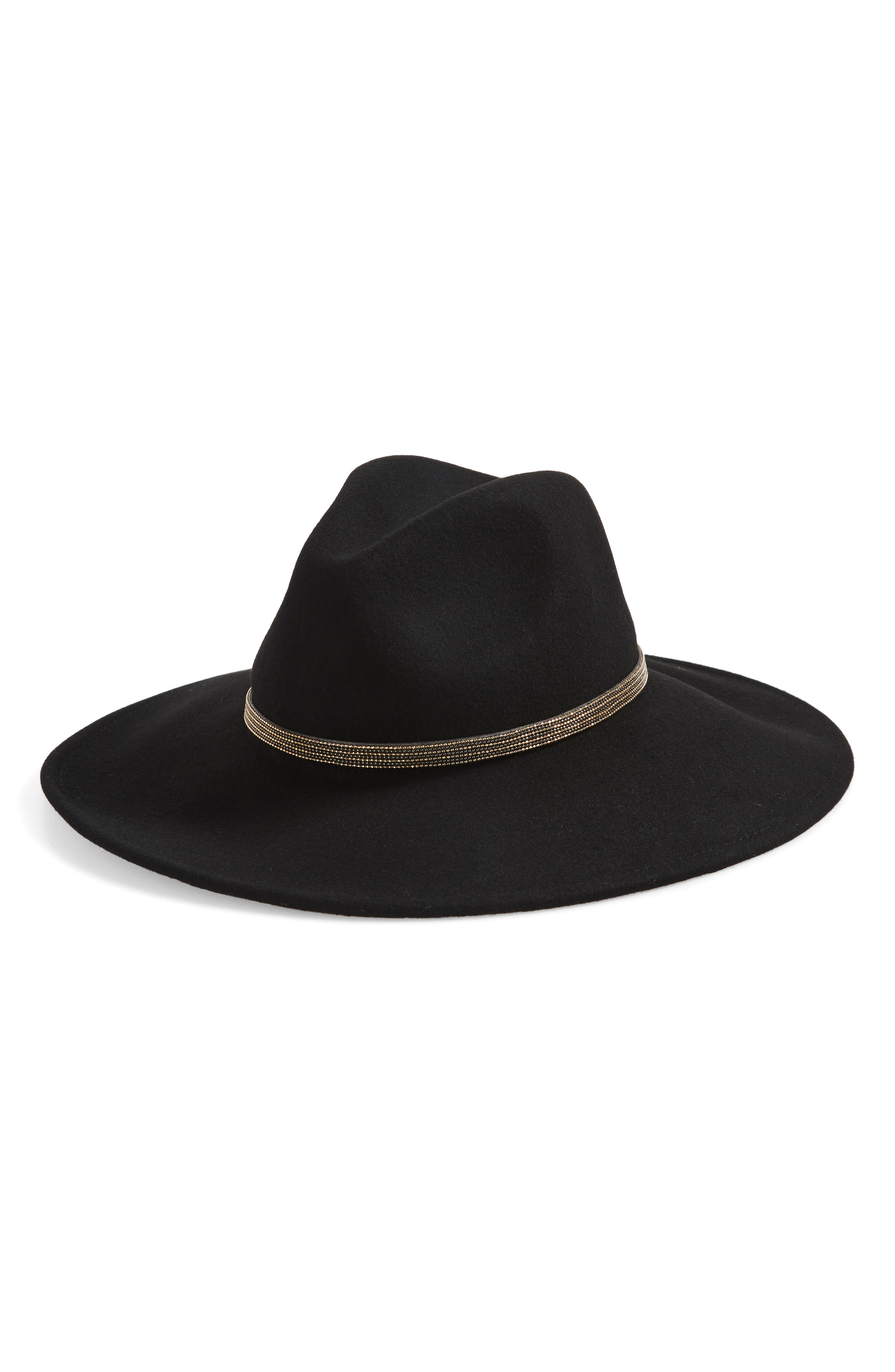 Beaded Chain Wool Felt Panama Hat,                             Main thumbnail 1, color,                             001