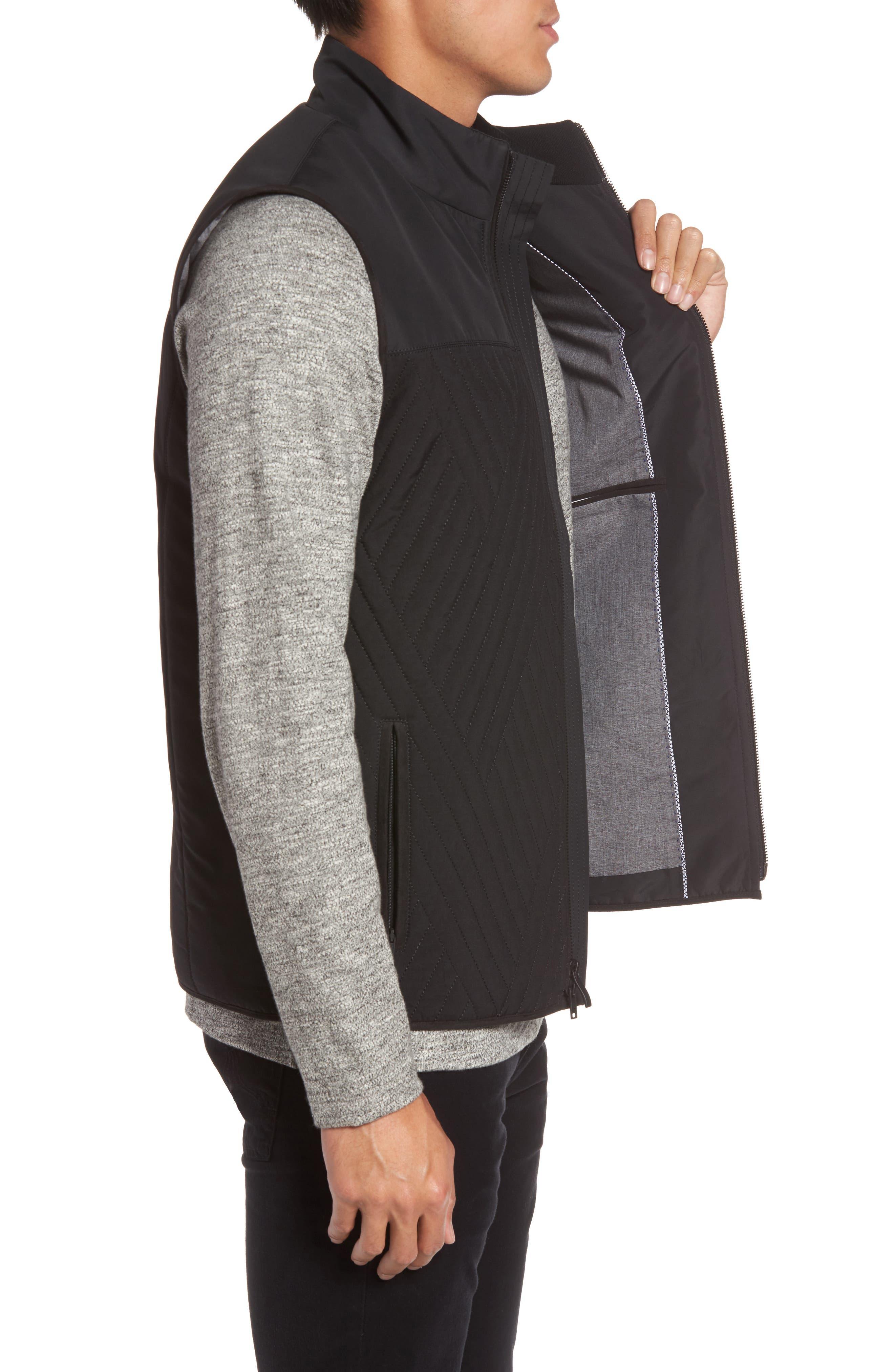 VINCE CAMUTO,                             Slim Fit Quilted Vest,                             Alternate thumbnail 3, color,                             BLACK