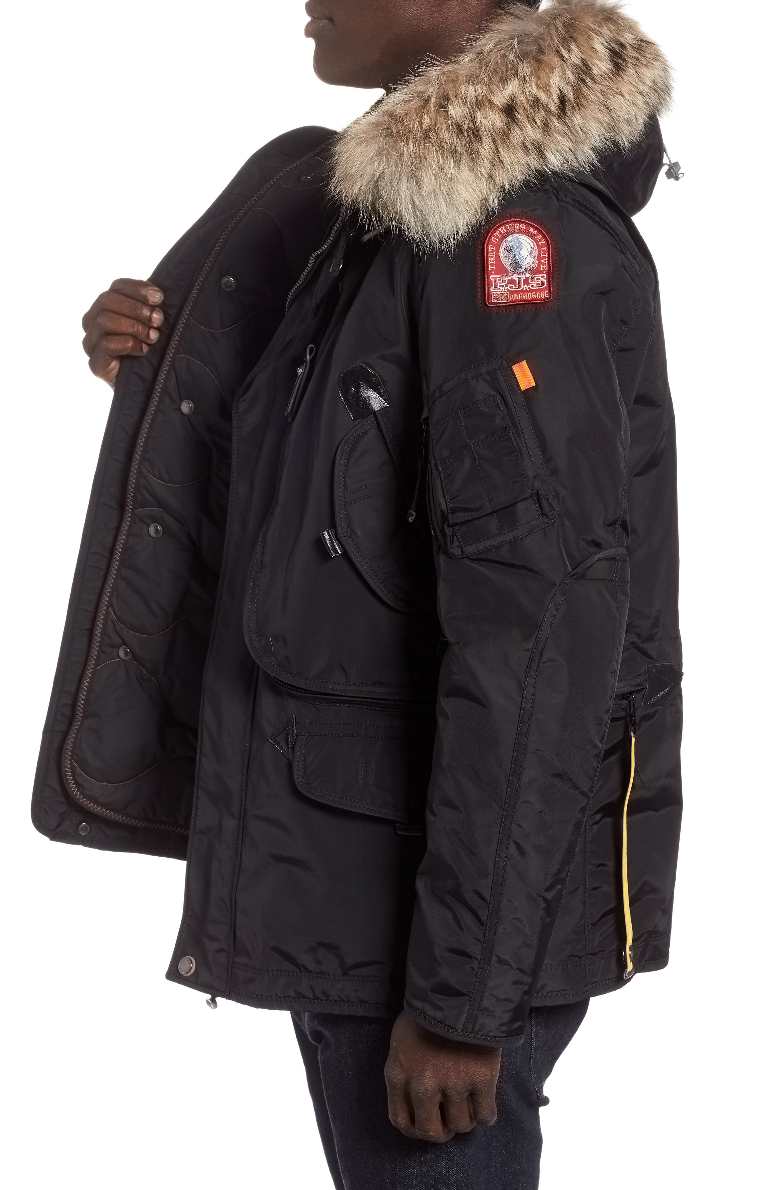 Right Hand Light 700 Fill Waterproof Power Down Jacket with Genuine Coyote Fur Trim,                             Alternate thumbnail 3, color,                             BLACK