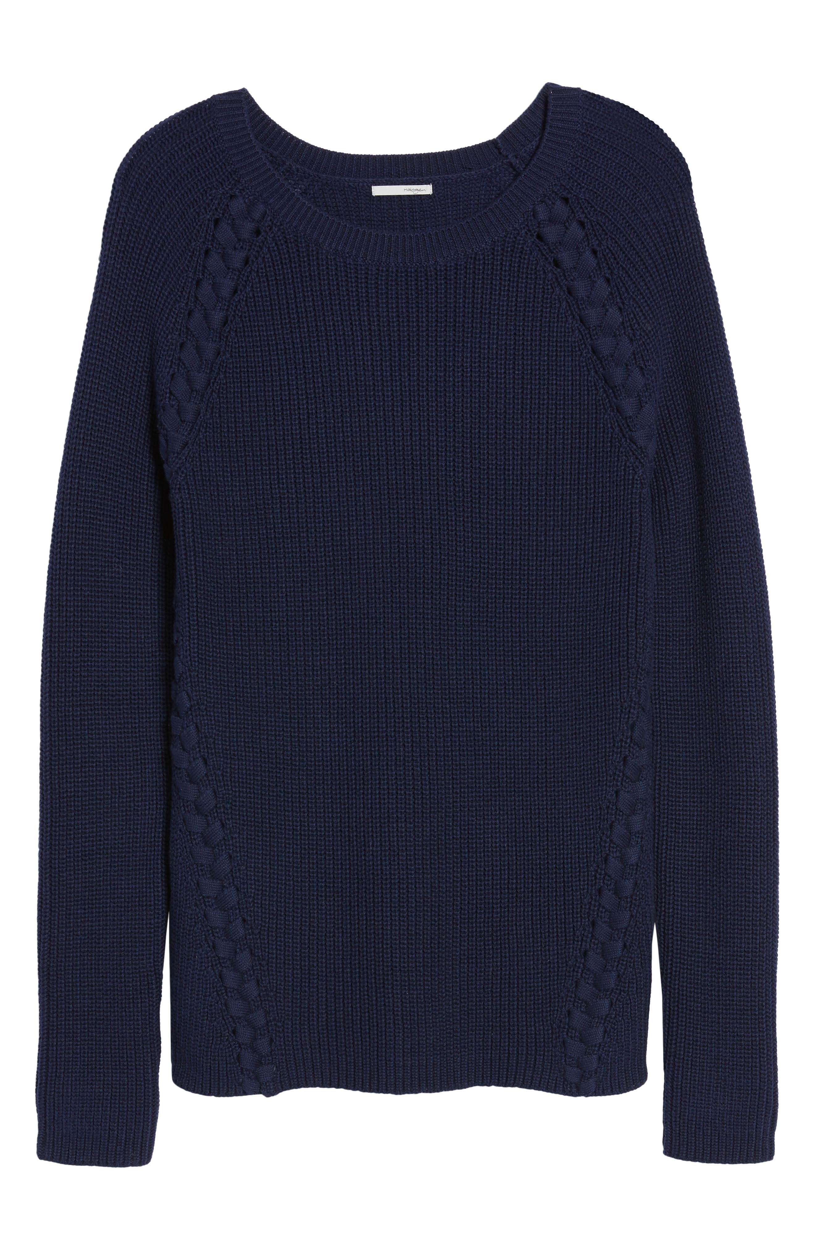 Lace-Up Sweater,                             Alternate thumbnail 6, color,                             410