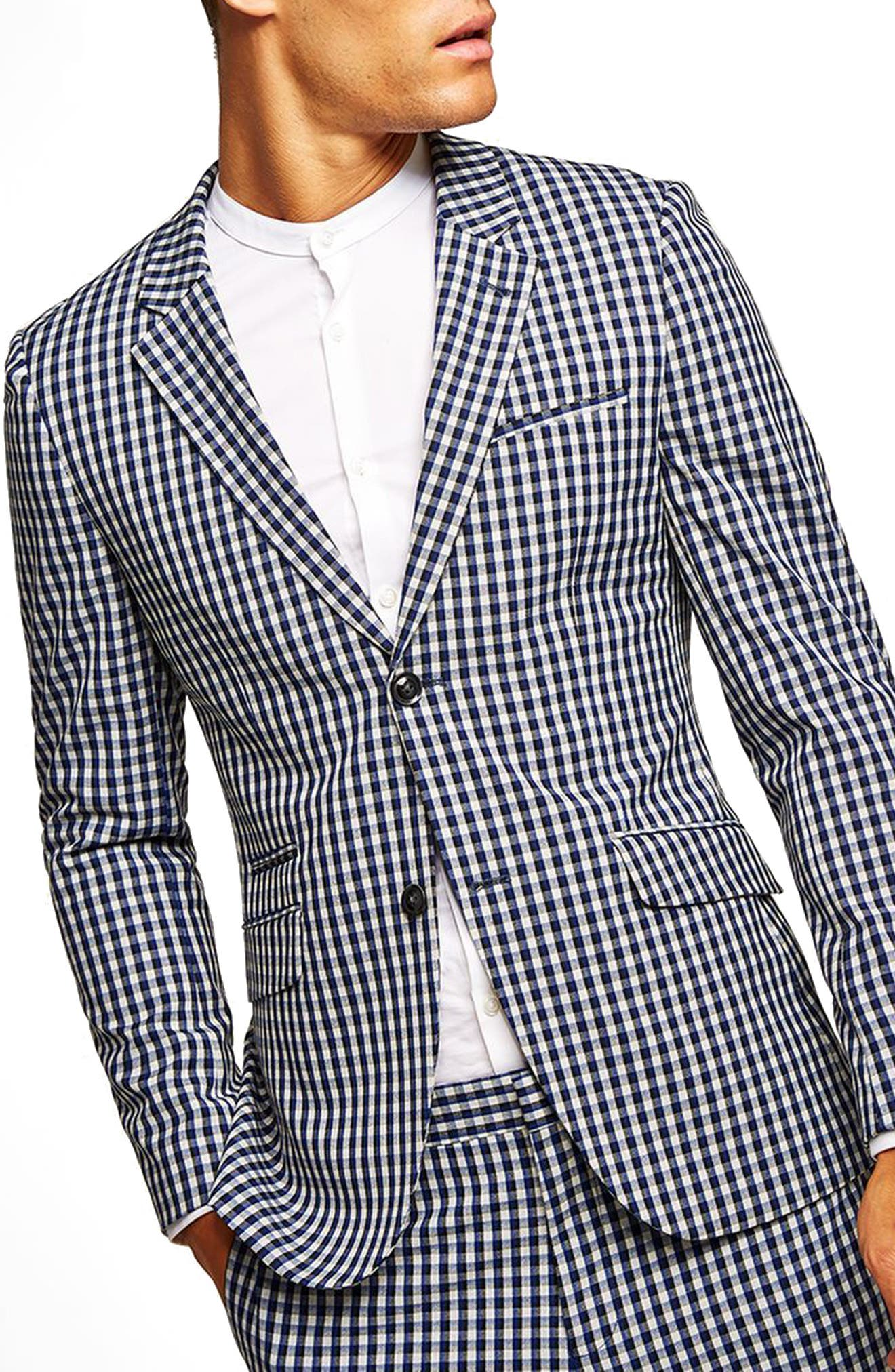 Muscle Fit Check Suit Jacket,                         Main,                         color, BLUE MULTI