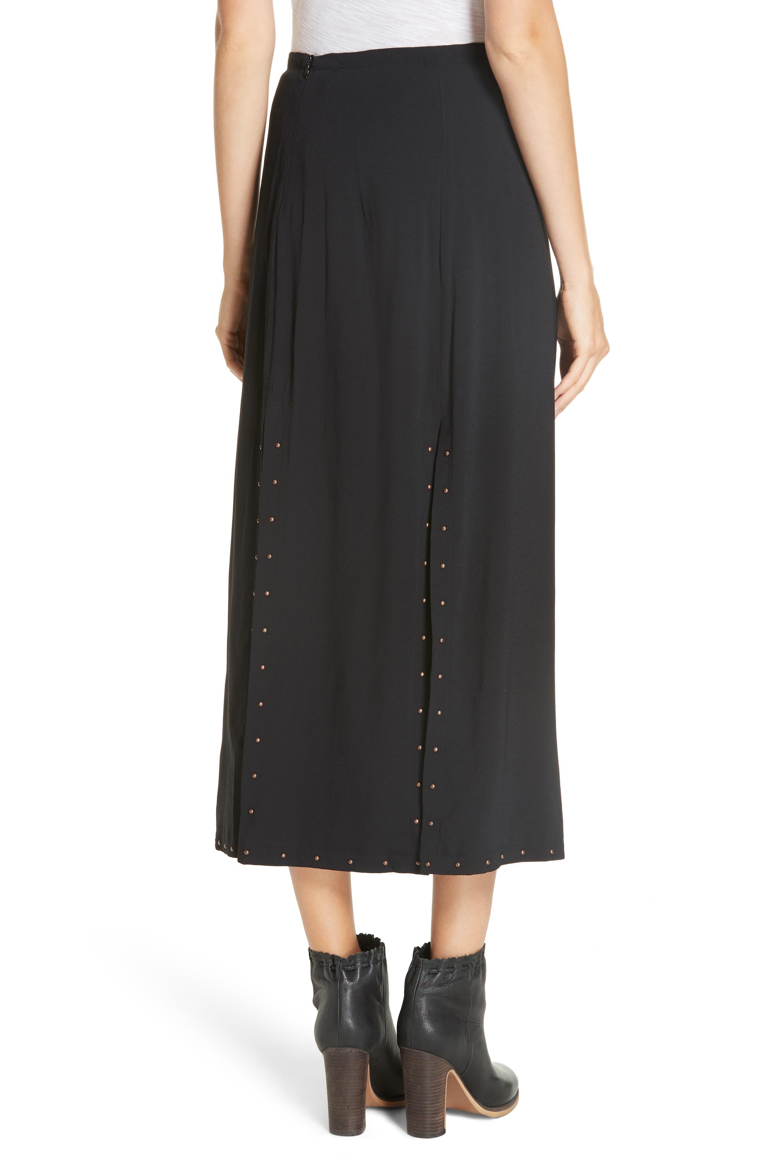 Slit Detail Midi Skirt,                             Alternate thumbnail 2, color,                             BLACK