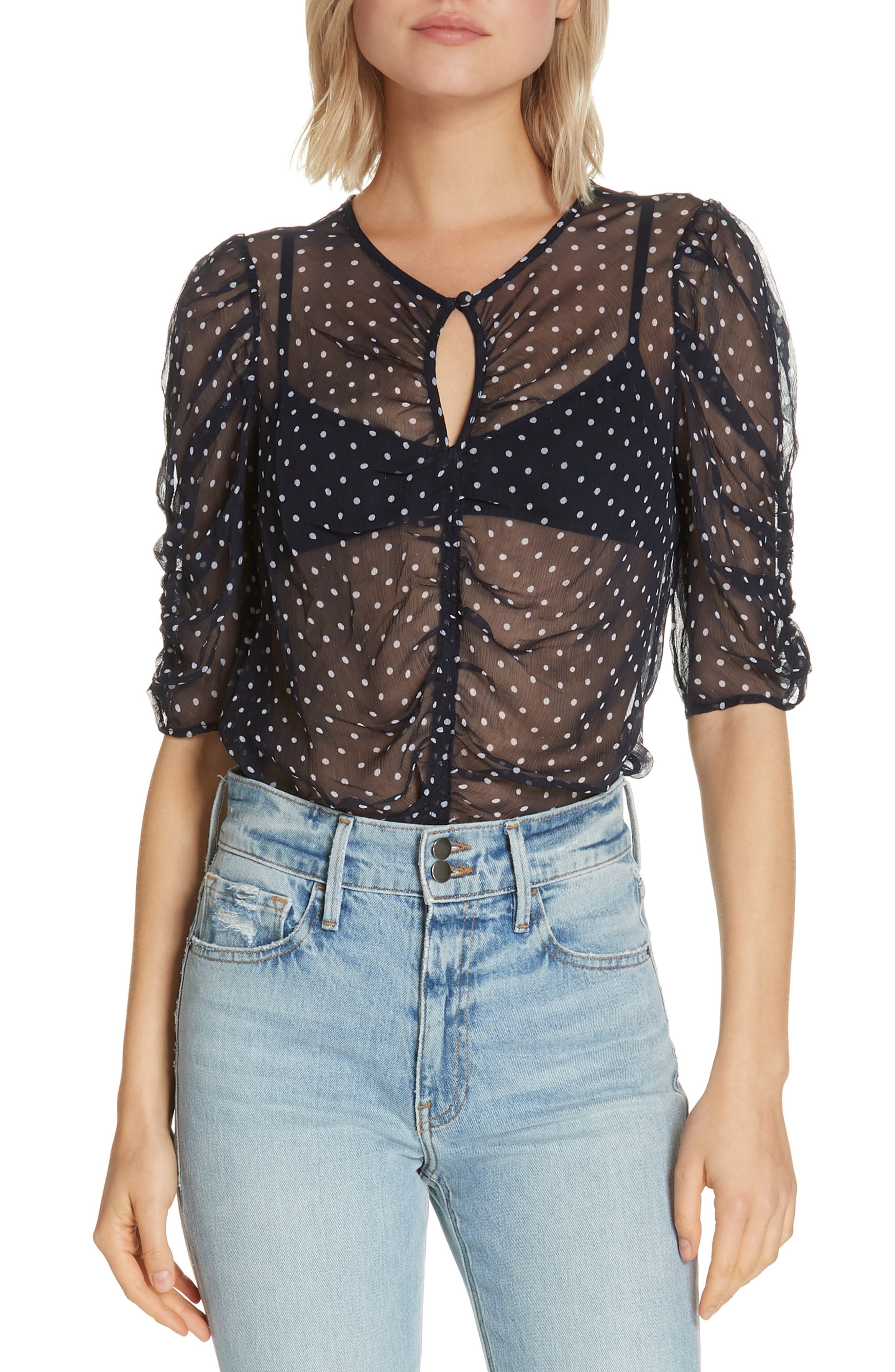 Shirred Keyhole Top, Main, color, NAVY MULTI