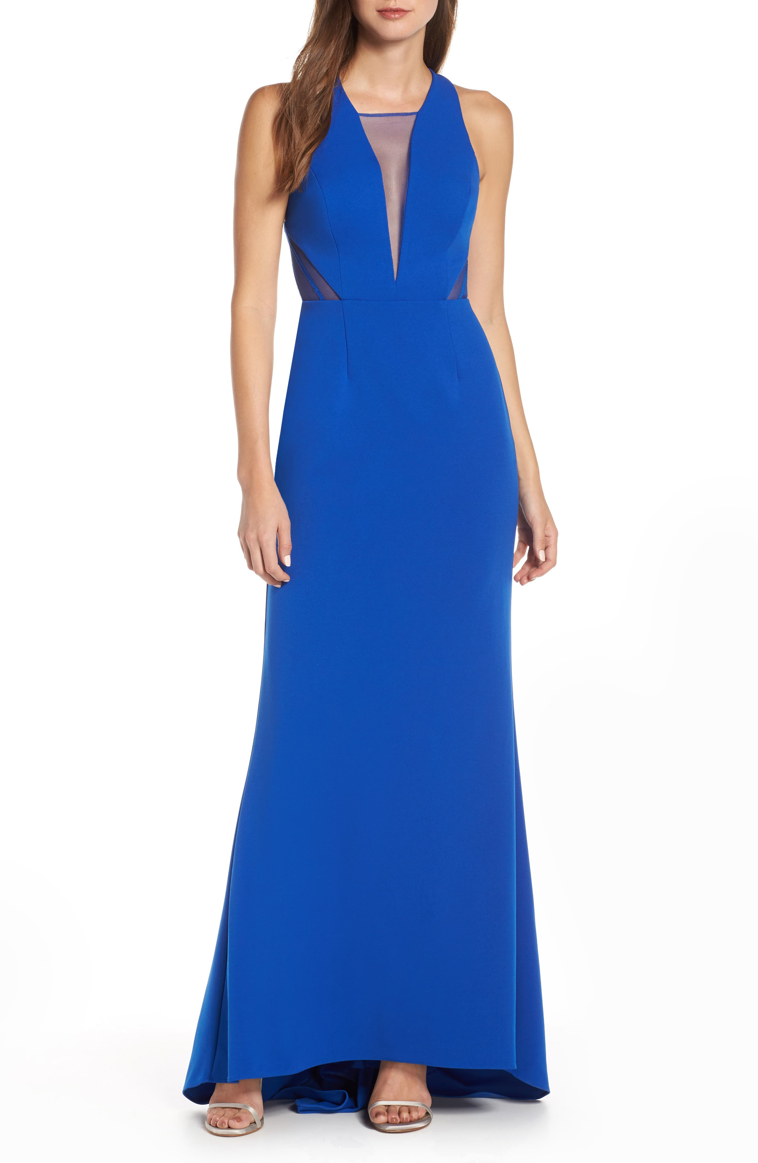 Adrianna Papell Lola Crossback Jersey Halter Gown, Blue