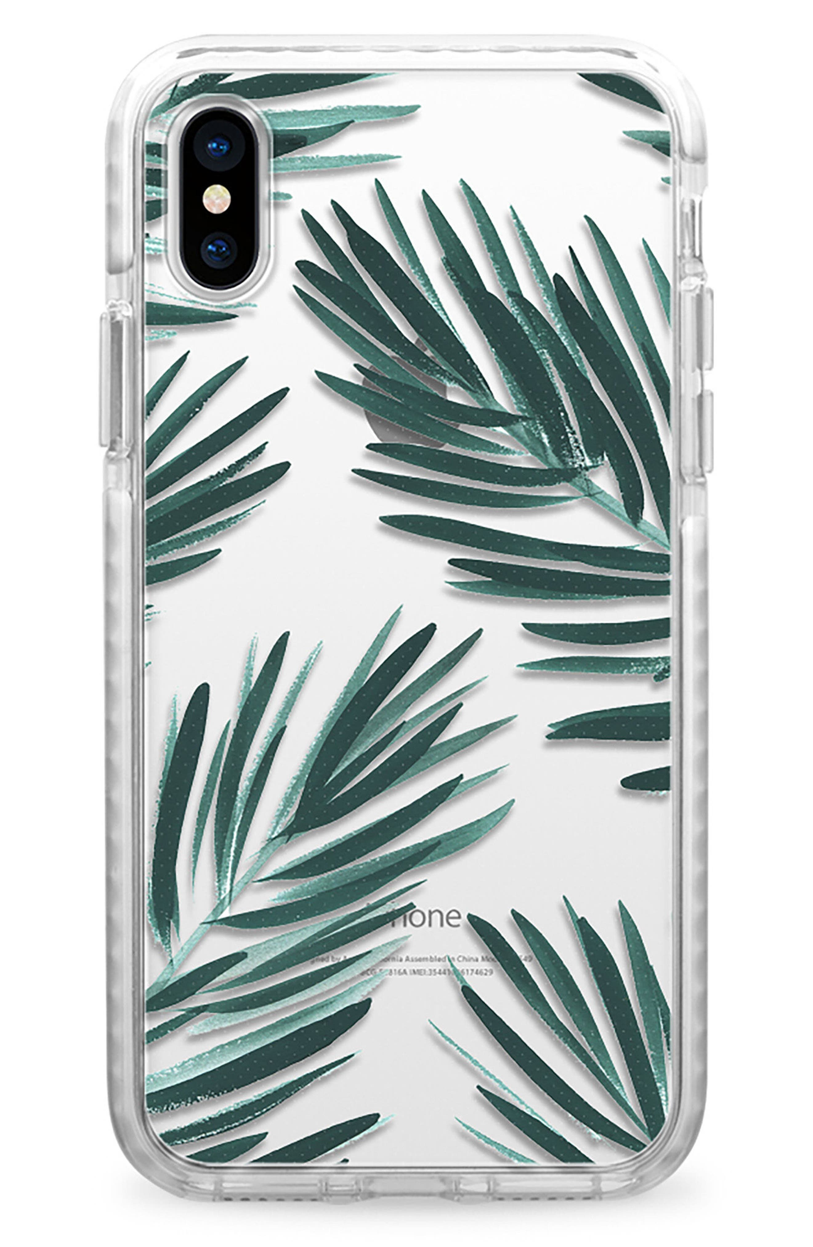 Palm Fronds iPhone X & Xs Case,                             Main thumbnail 1, color,                             GREEN