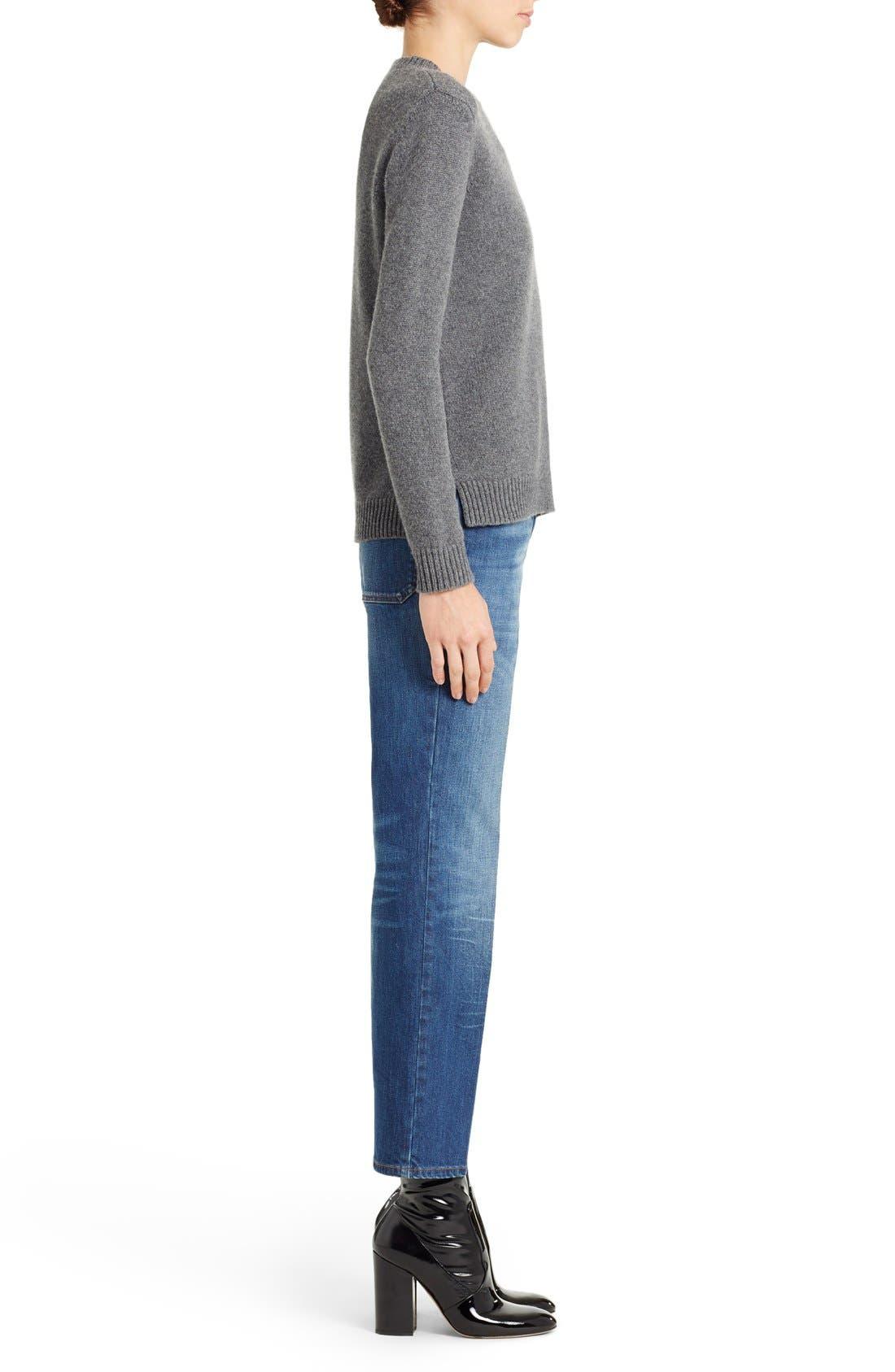 Studded Crewneck Cashmere Sweater,                             Alternate thumbnail 6, color,                             GREY