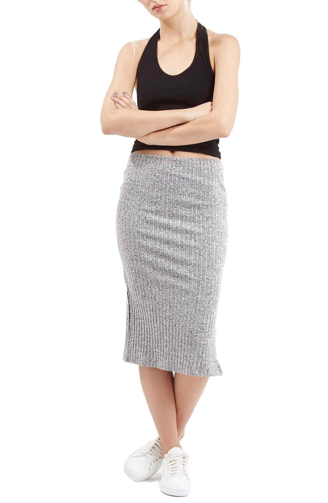 Ribbed Tube Skirt,                             Alternate thumbnail 3, color,                             020