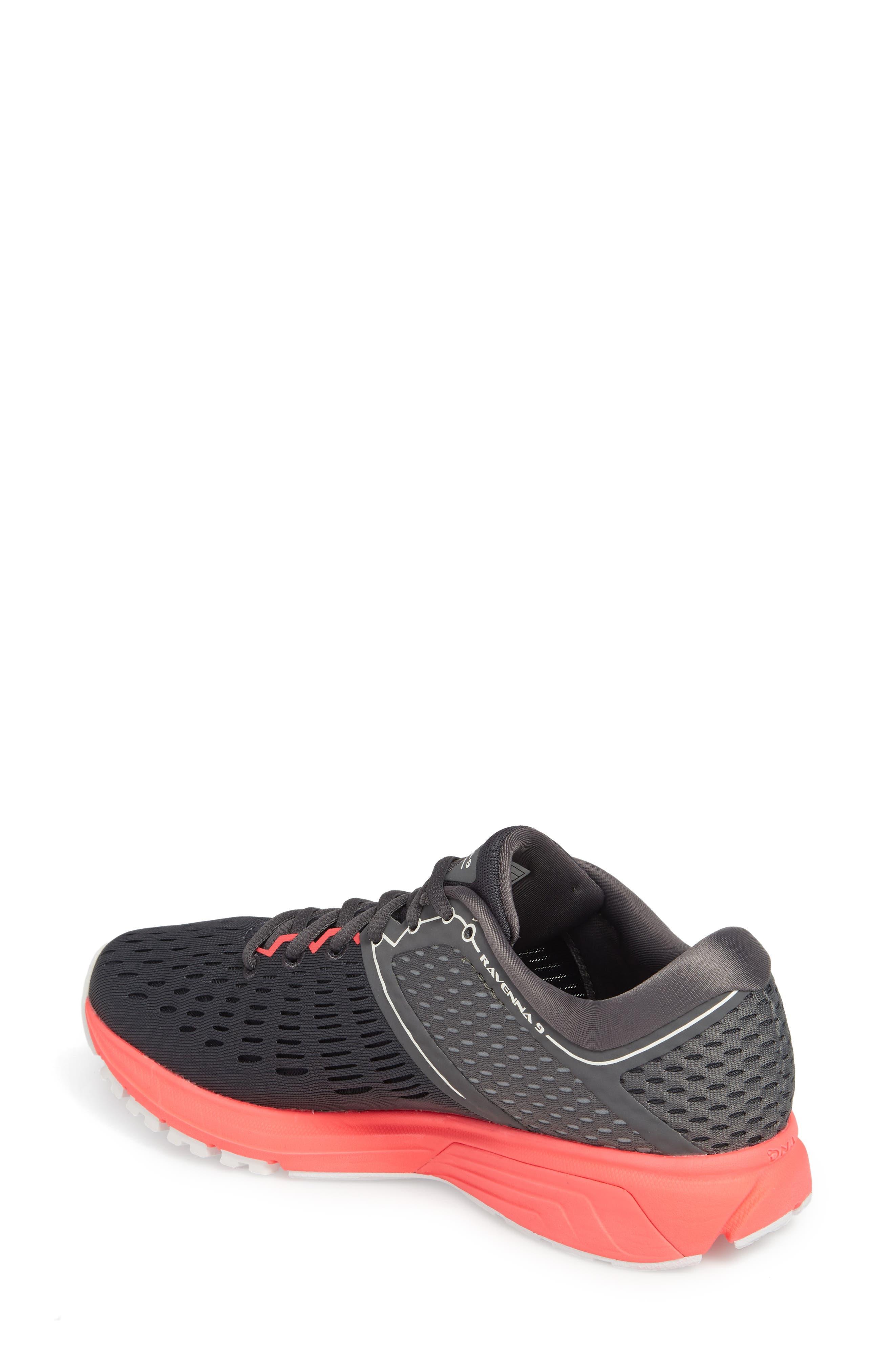 Ravenna 9 Running Shoe,                             Alternate thumbnail 2, color,                             EBONY/ DIVA PINK/ WHITE