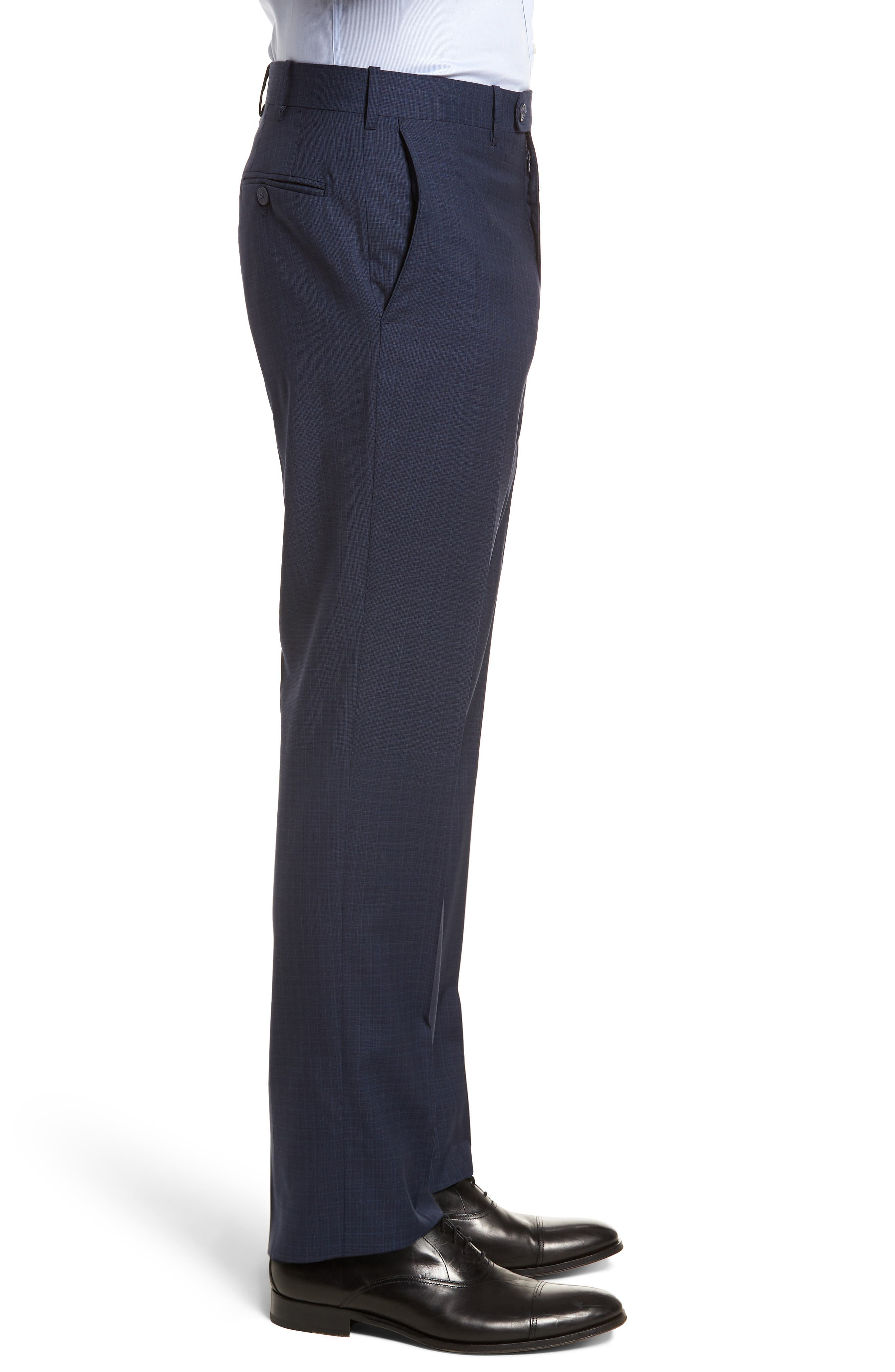 Flat Front Check Wool Trousers,                             Alternate thumbnail 9, color,